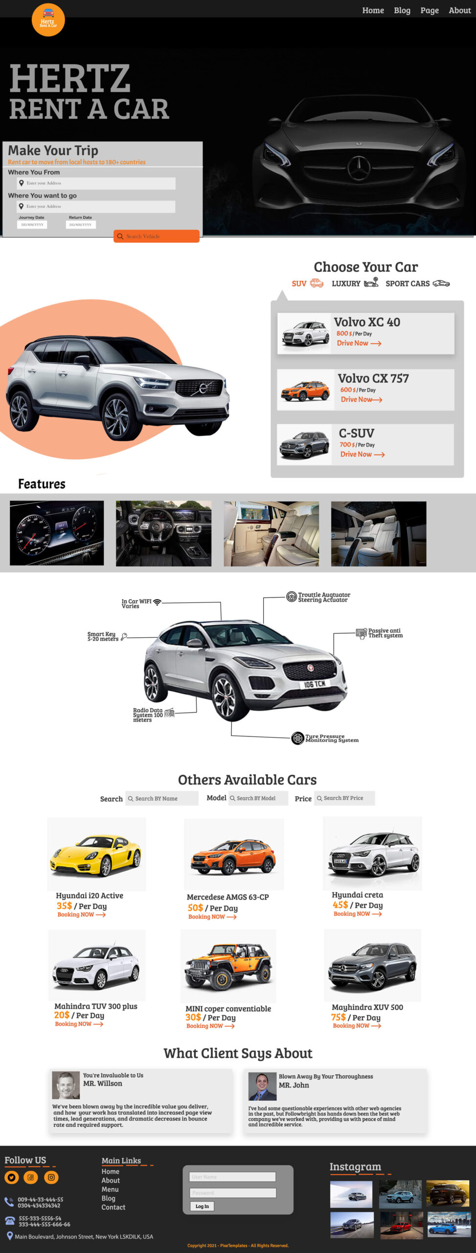 Rent a Car Free Website Template with Source PSD