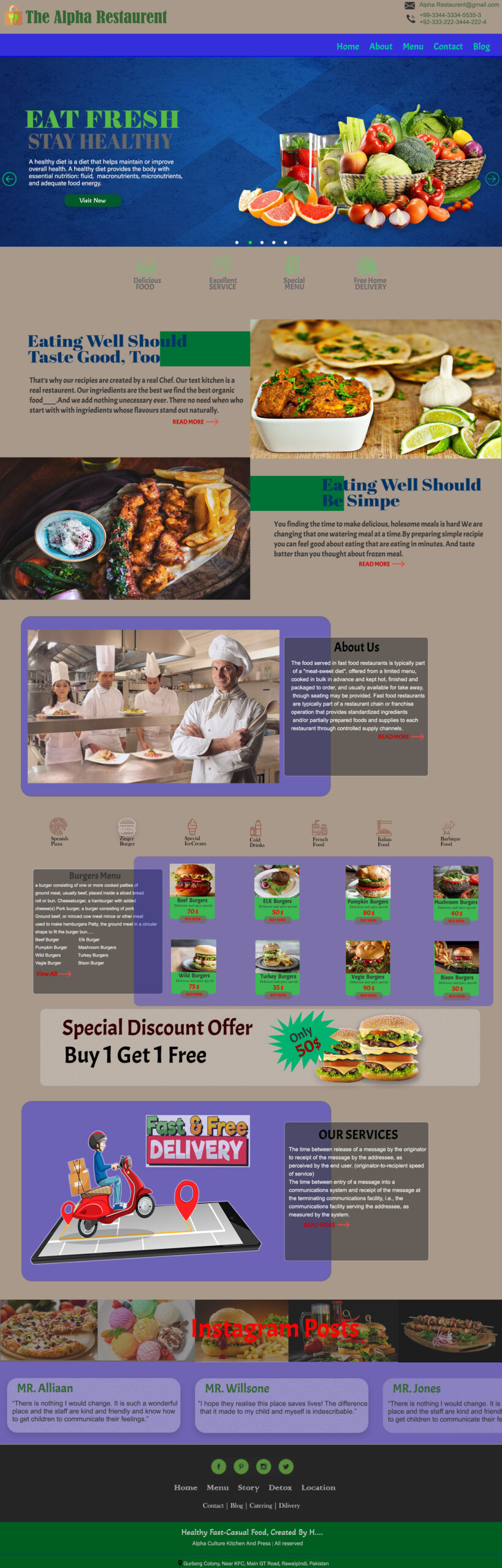 Eat Fresh PSD Template for Free