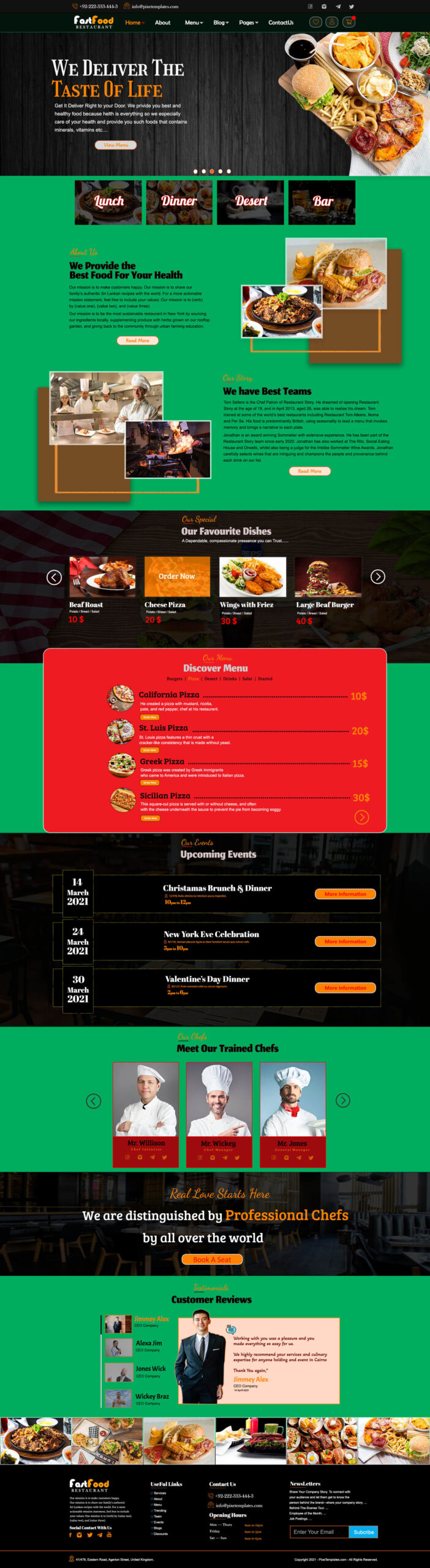 Fast Food Restaurant Website Template for Free