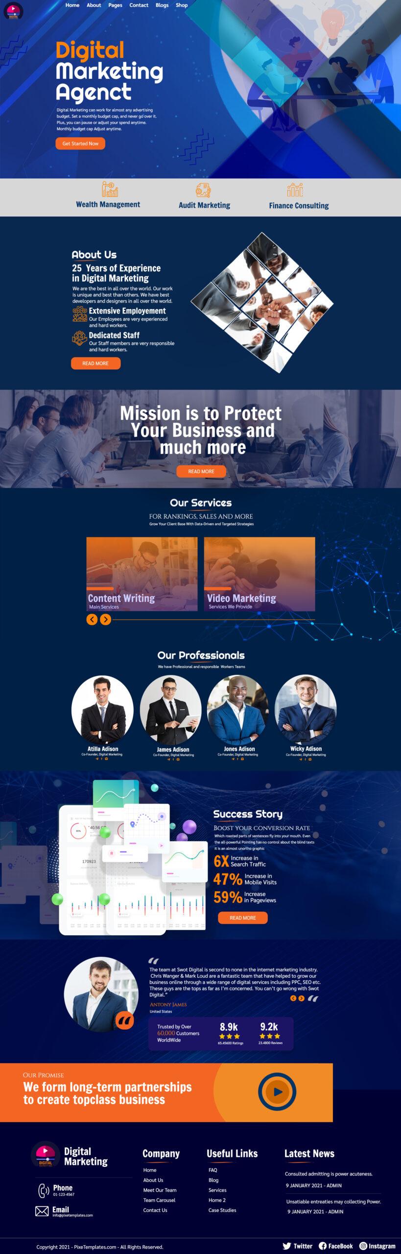 Digital Marketing Agent Free Website Template