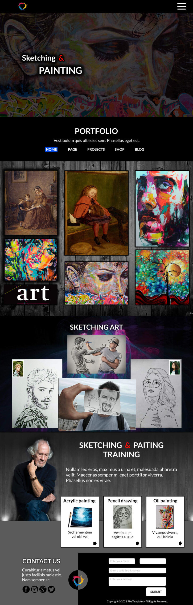 Sketching & Painting Website Template for Free
