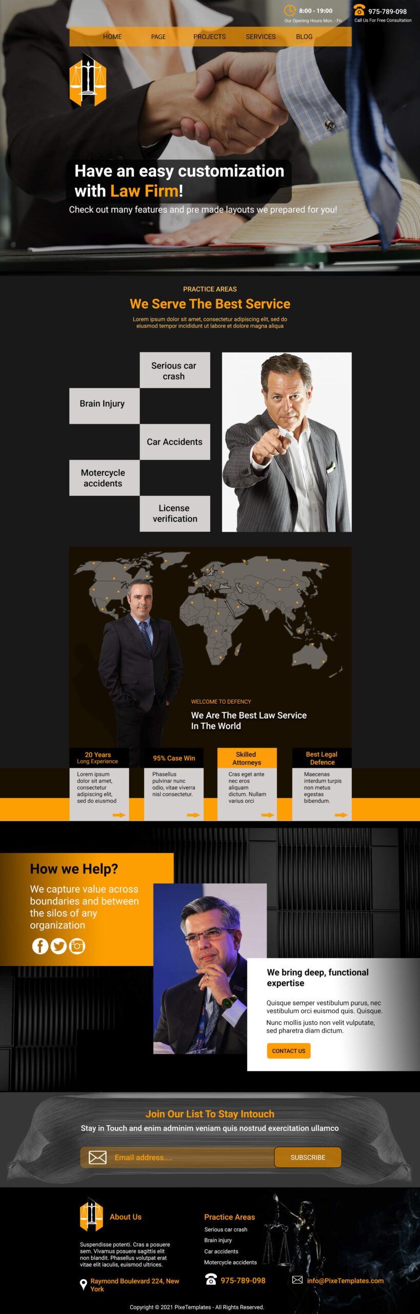 Law Firm Free Template with Source PSD