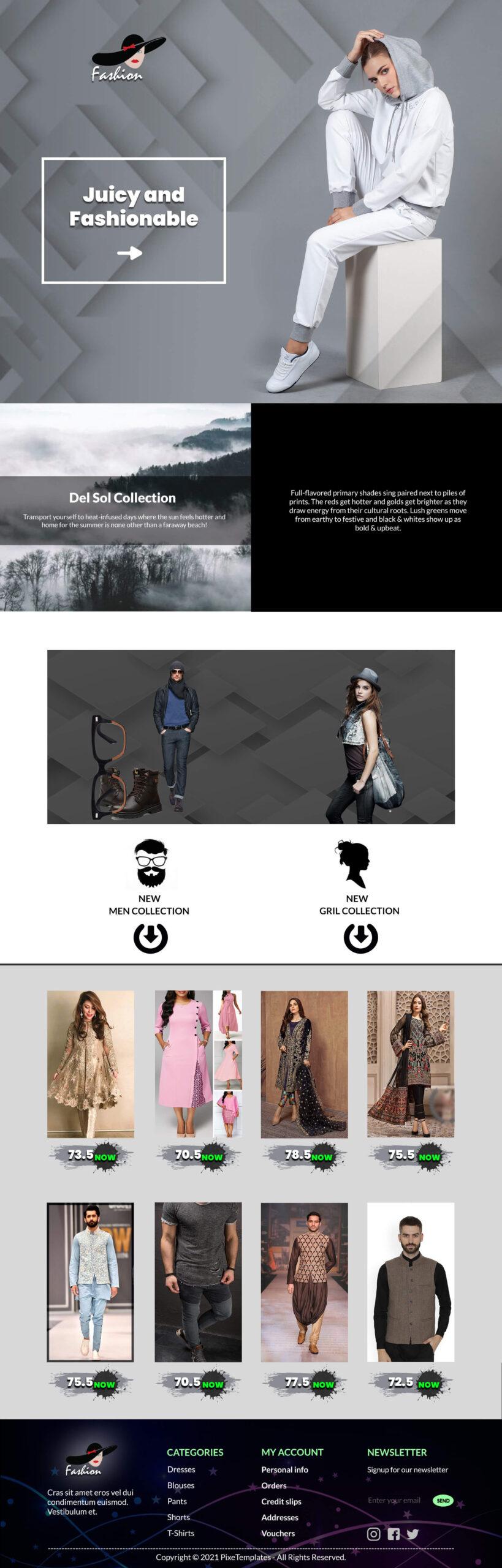 Fashion & Beauty Web Template for Free