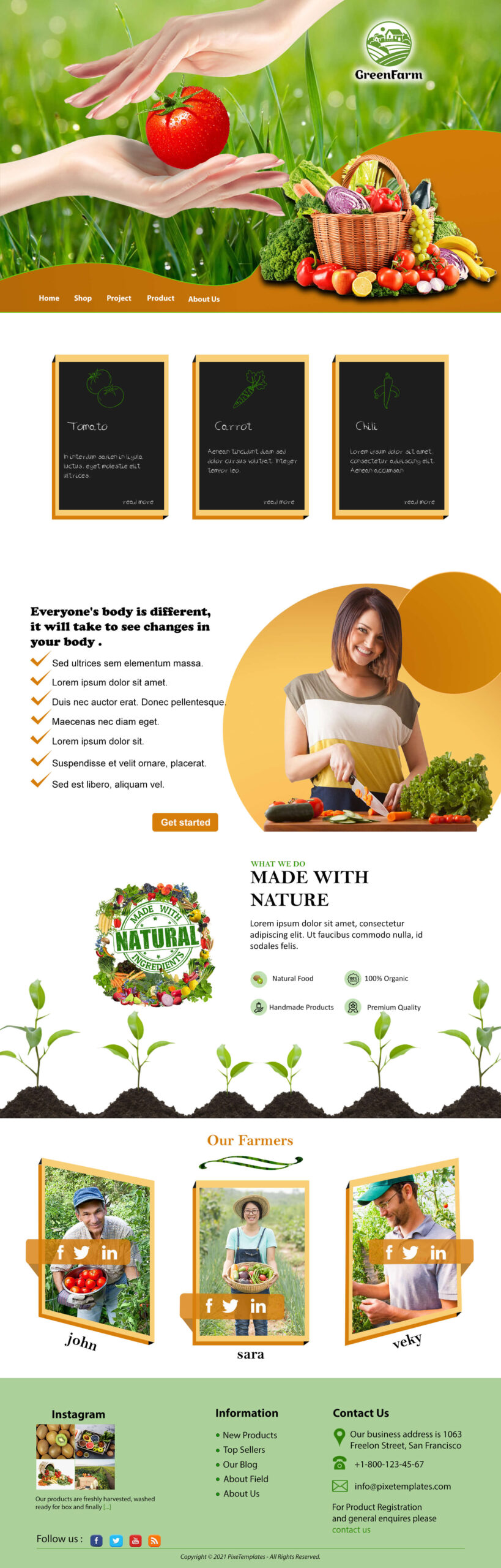 Green Farm Website Template for Free