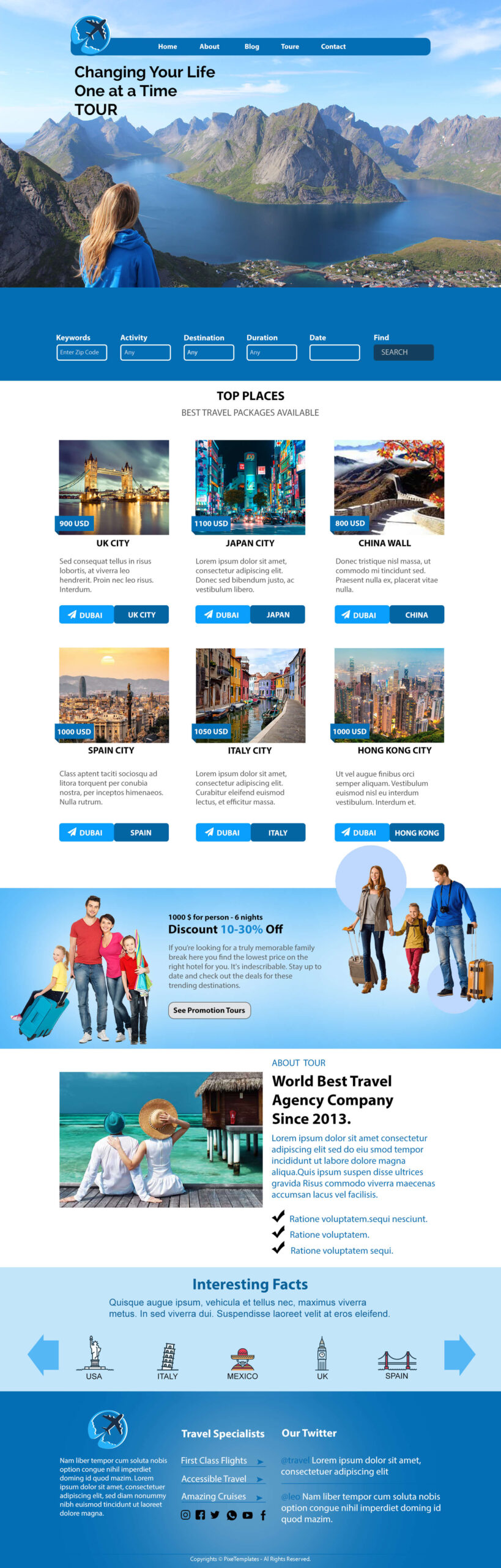 Change your Life Tour & Hotel Web Interface