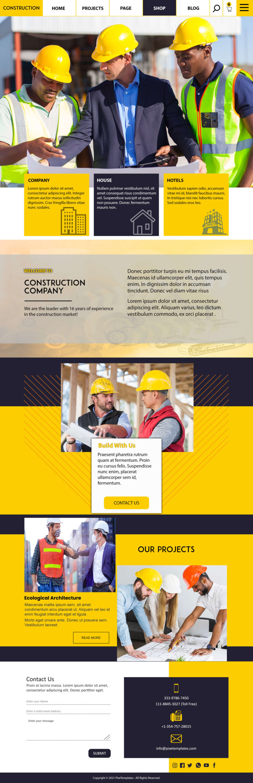 Free Website Template for Constructions Company