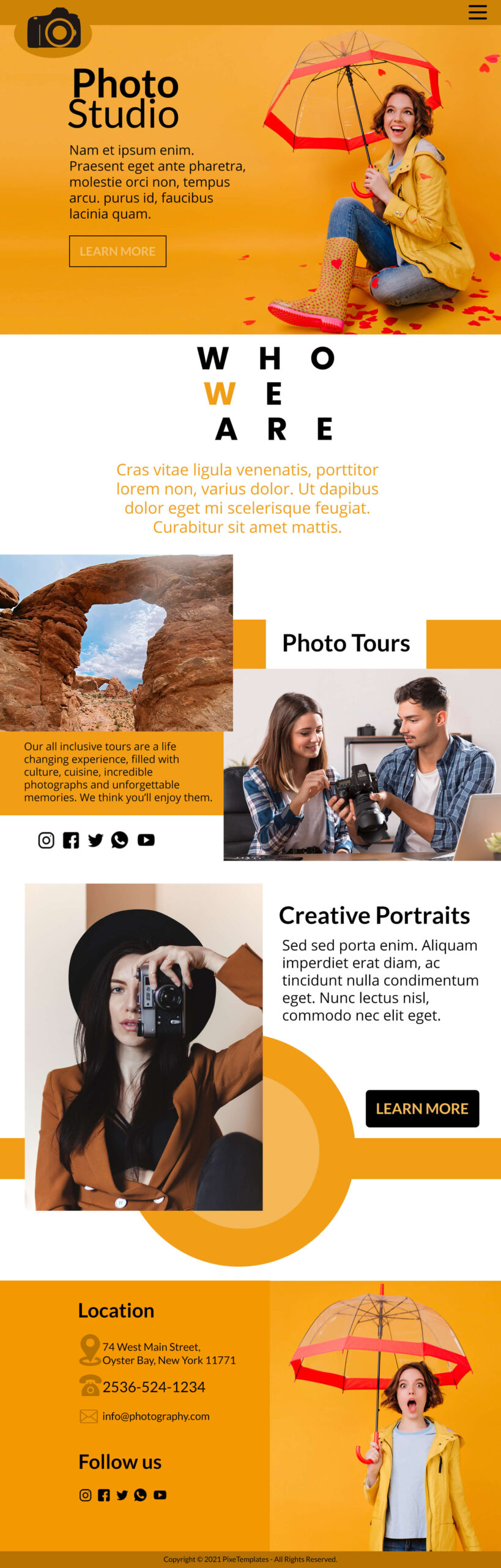 Photo Studio Website Interface With Source PSD