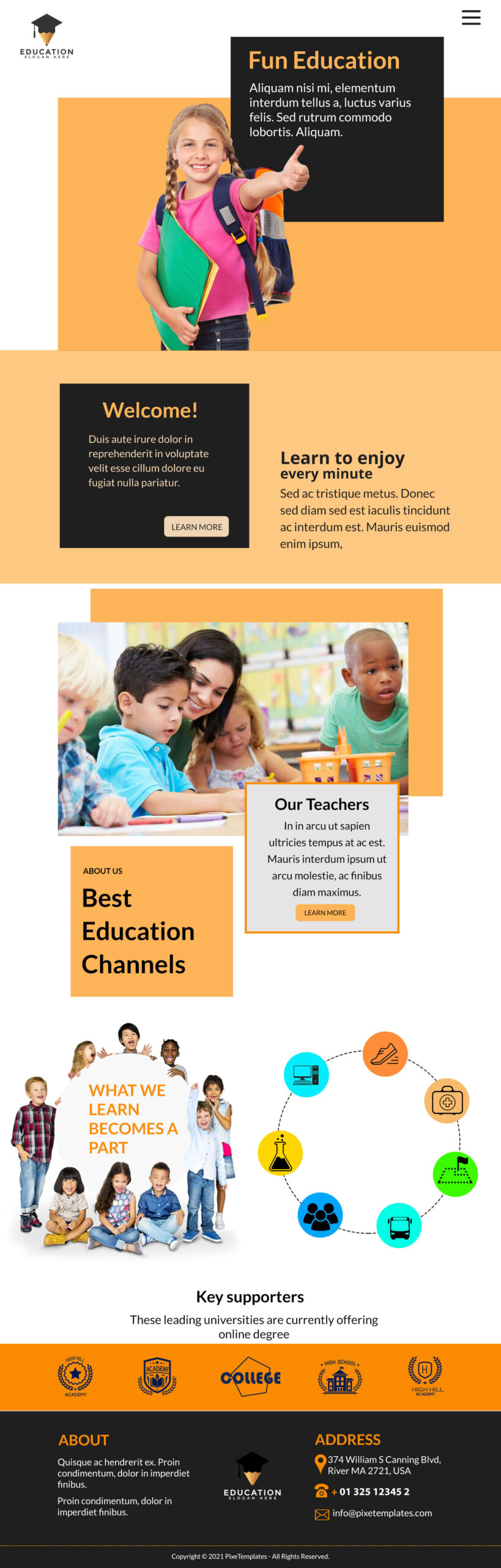 Fun Education Free Website Template with Source PSD