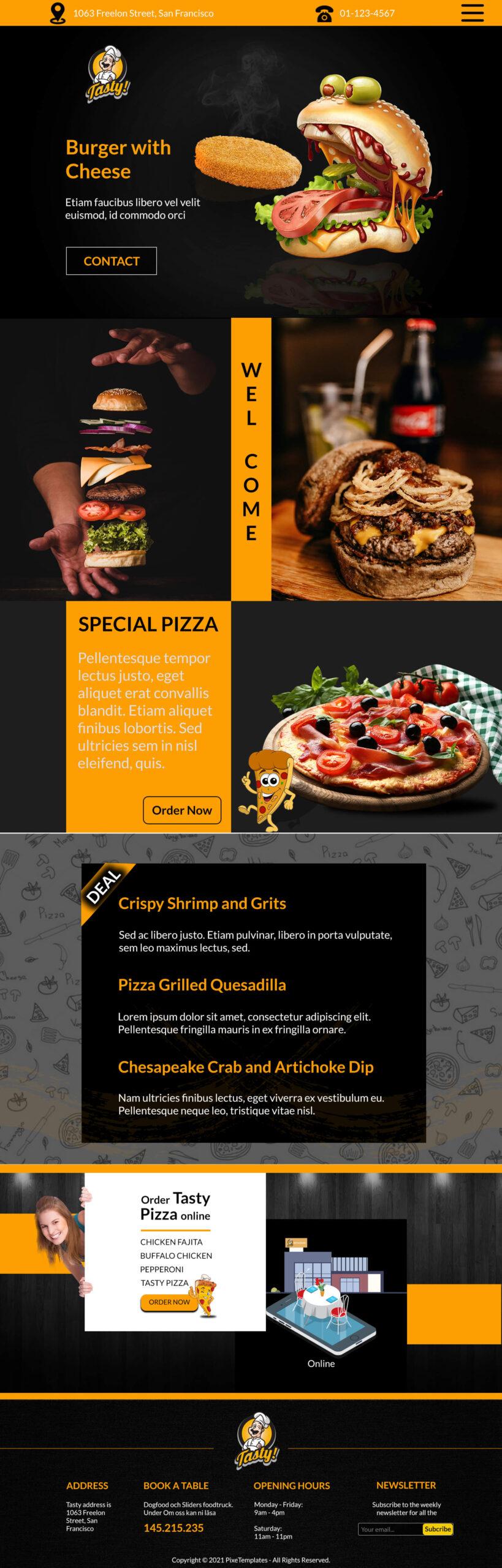 Tasty Burger Website Interface