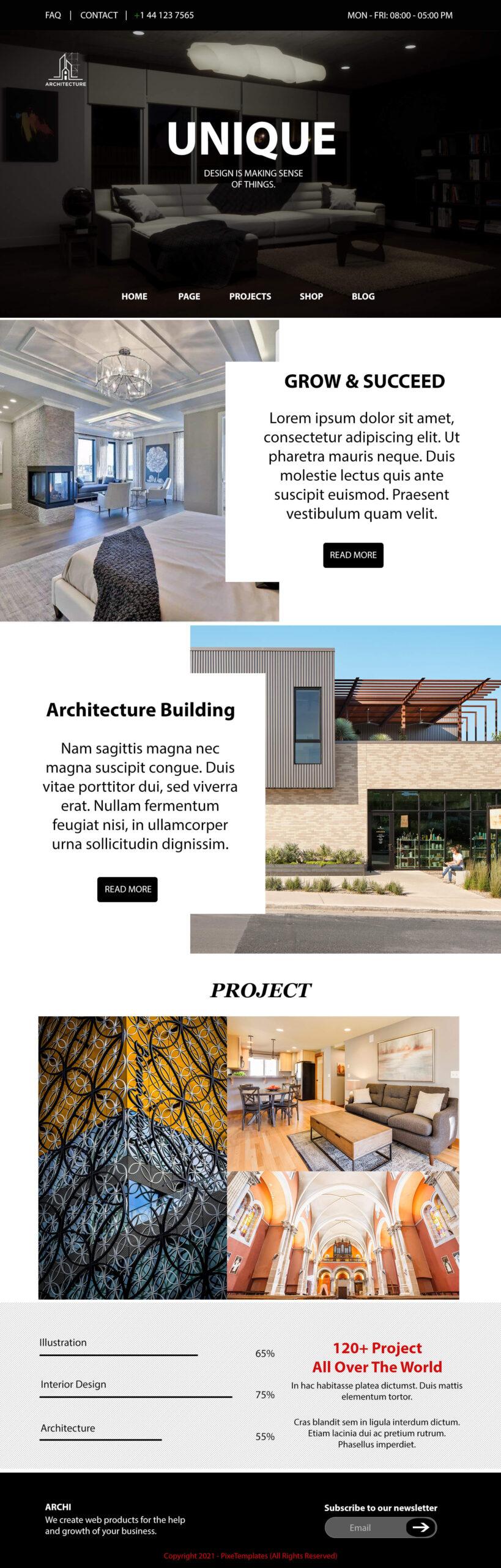 Unique Architecture Free Website Interface