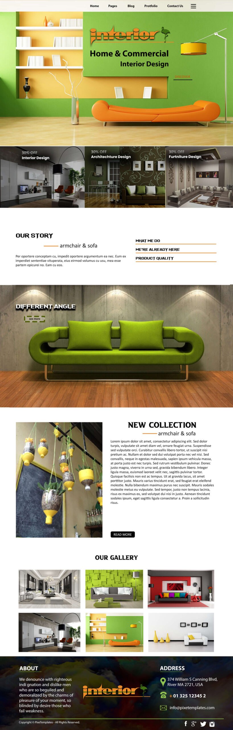 Interior Design Free Website Template with Source PSD