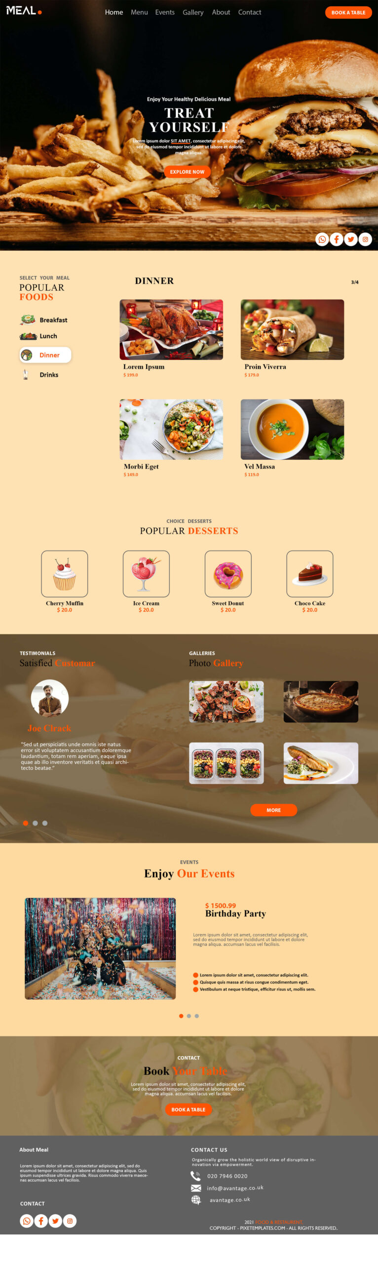 Treat Yourself, Web Template for Fast Food Restaurant