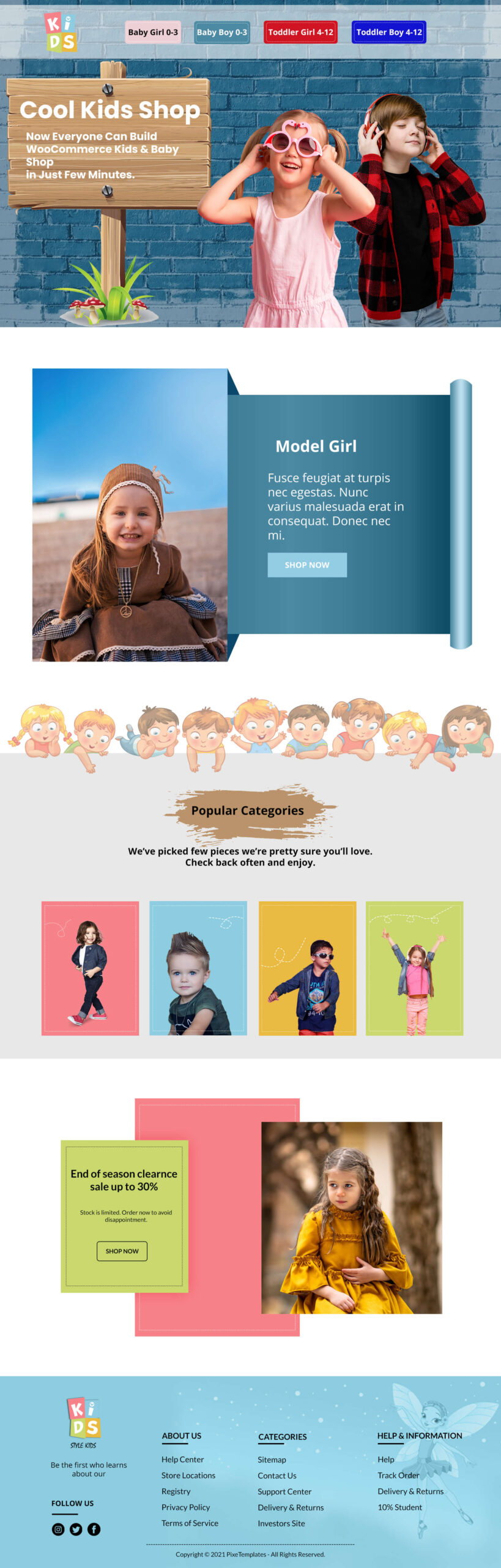 Kids Collection - Free Photoshop Template for Kids Shop