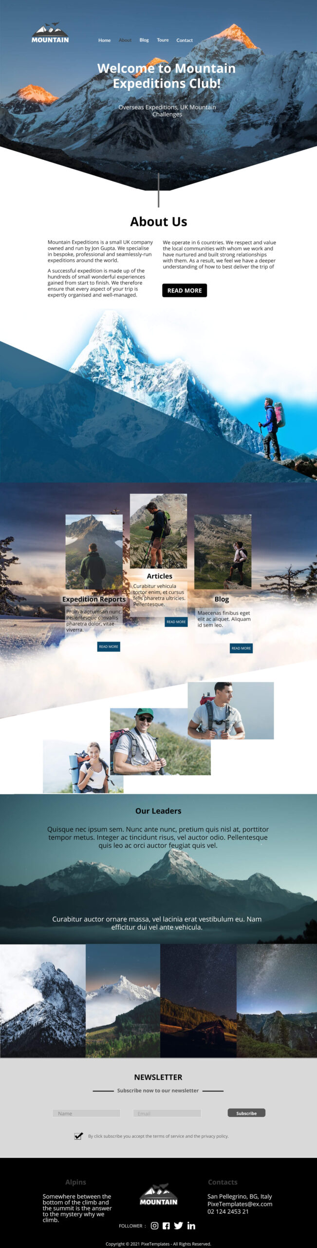 Free Web Interface for Mountain Expedition Club