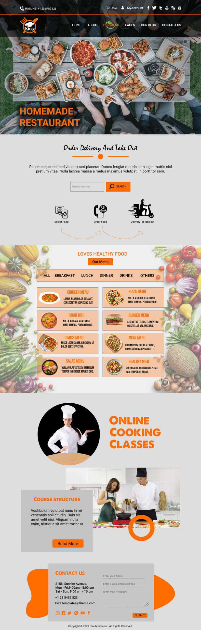 Free Website Template in PSD Source for Restaurants