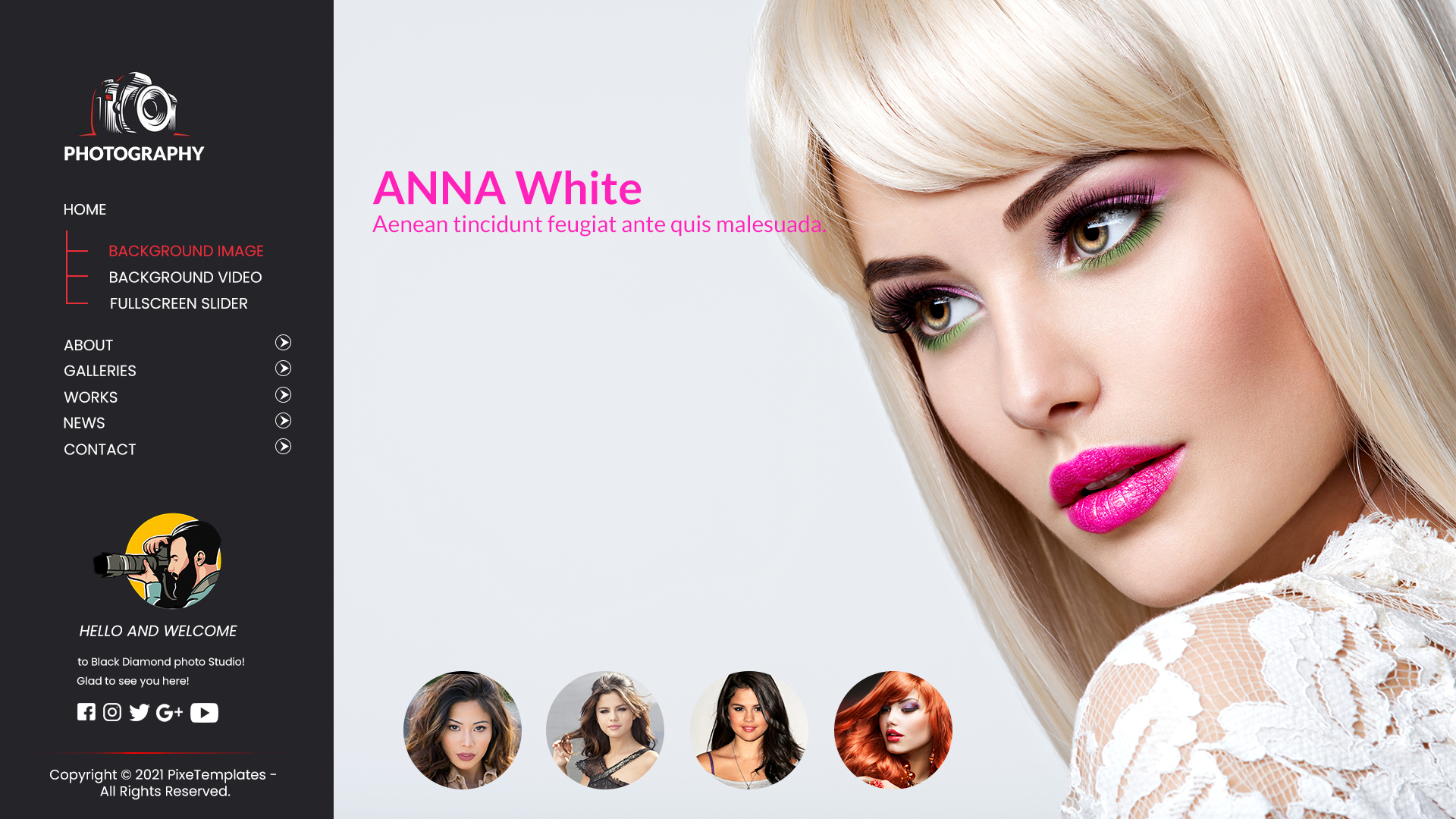Screenful Single Page Website Template for Photography
