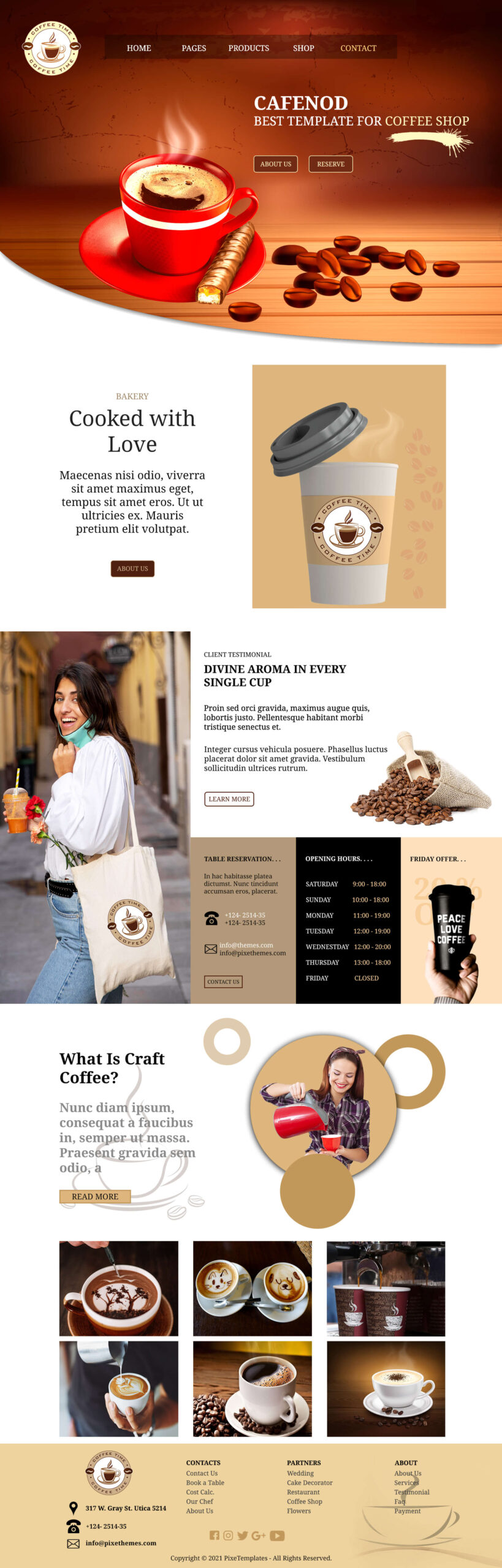 Website Template for Coffee Shop, With Nice Color Scheme