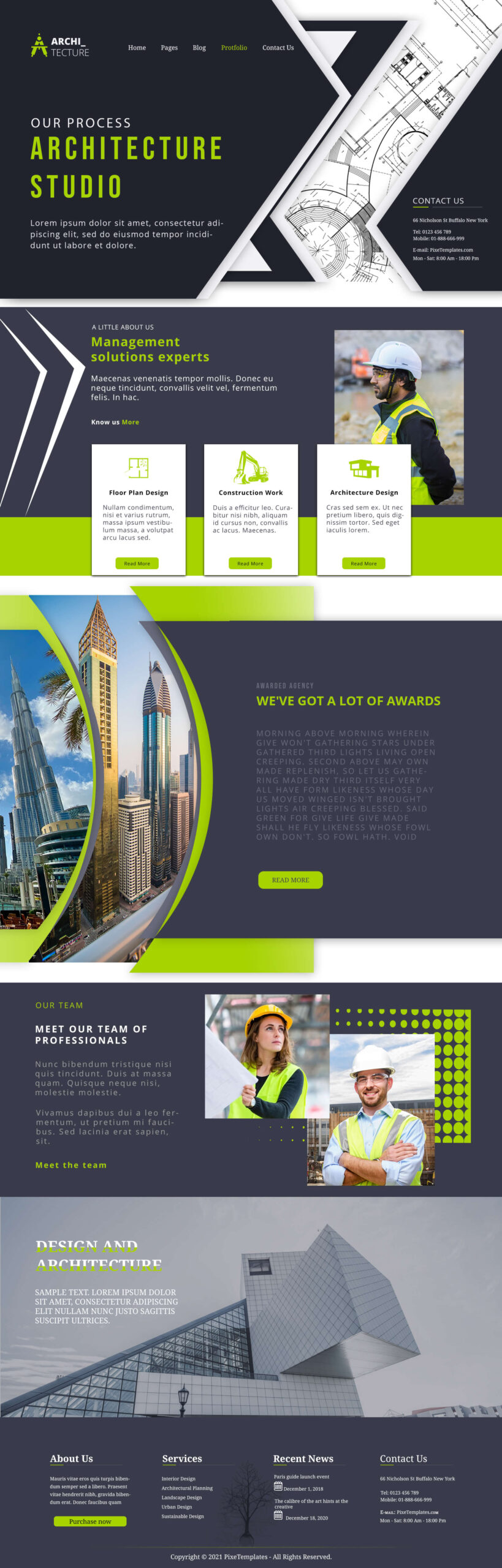 Trendy Green Color Website Template for Architects
