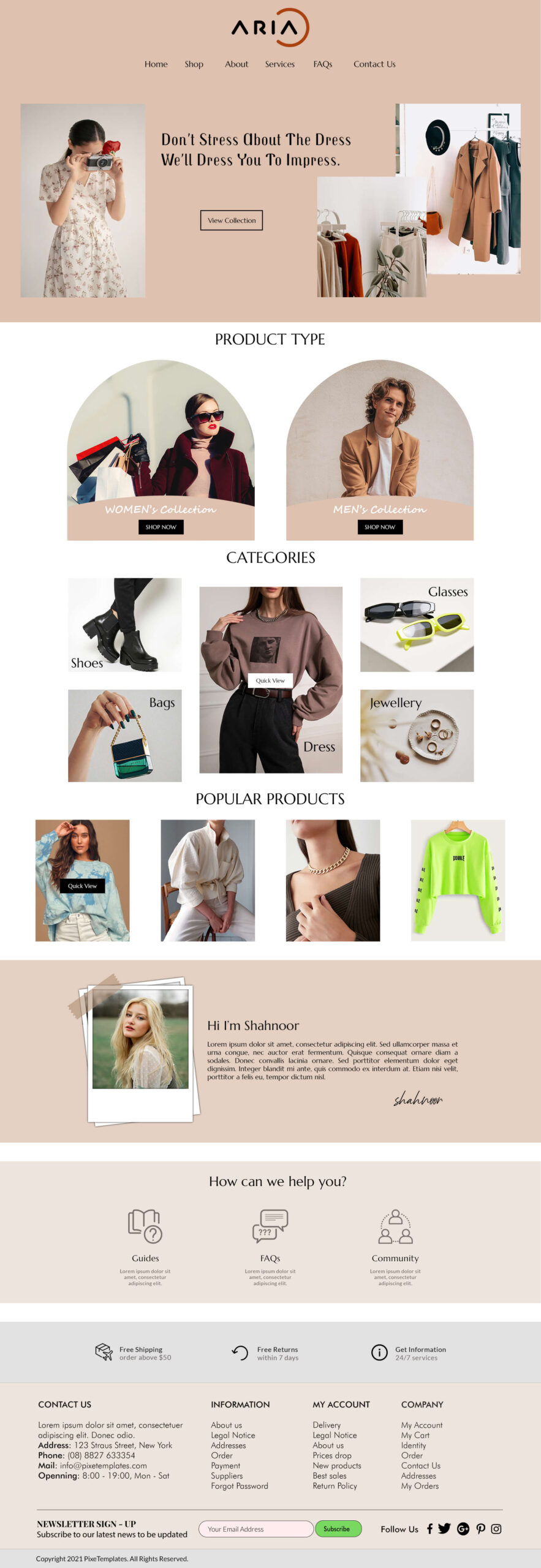 Website Template Related to Fashion Industry in PSD Format