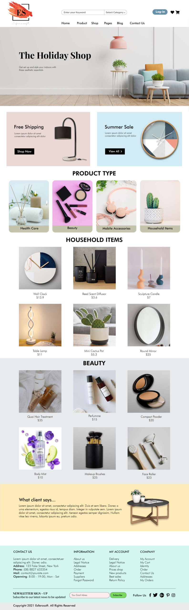 Cool and Attractive Website Template for Decoration Shop