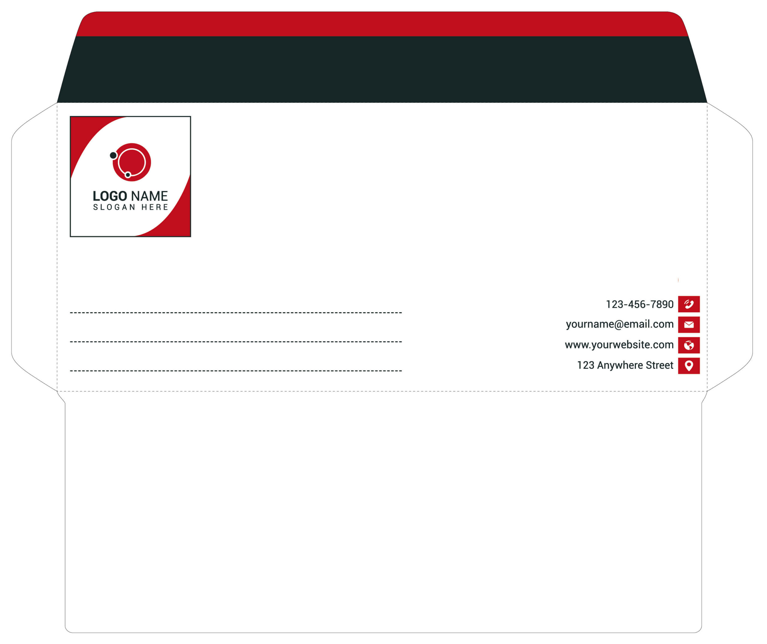 Trendy Style Red Color Envelope in Adobe Illustrator