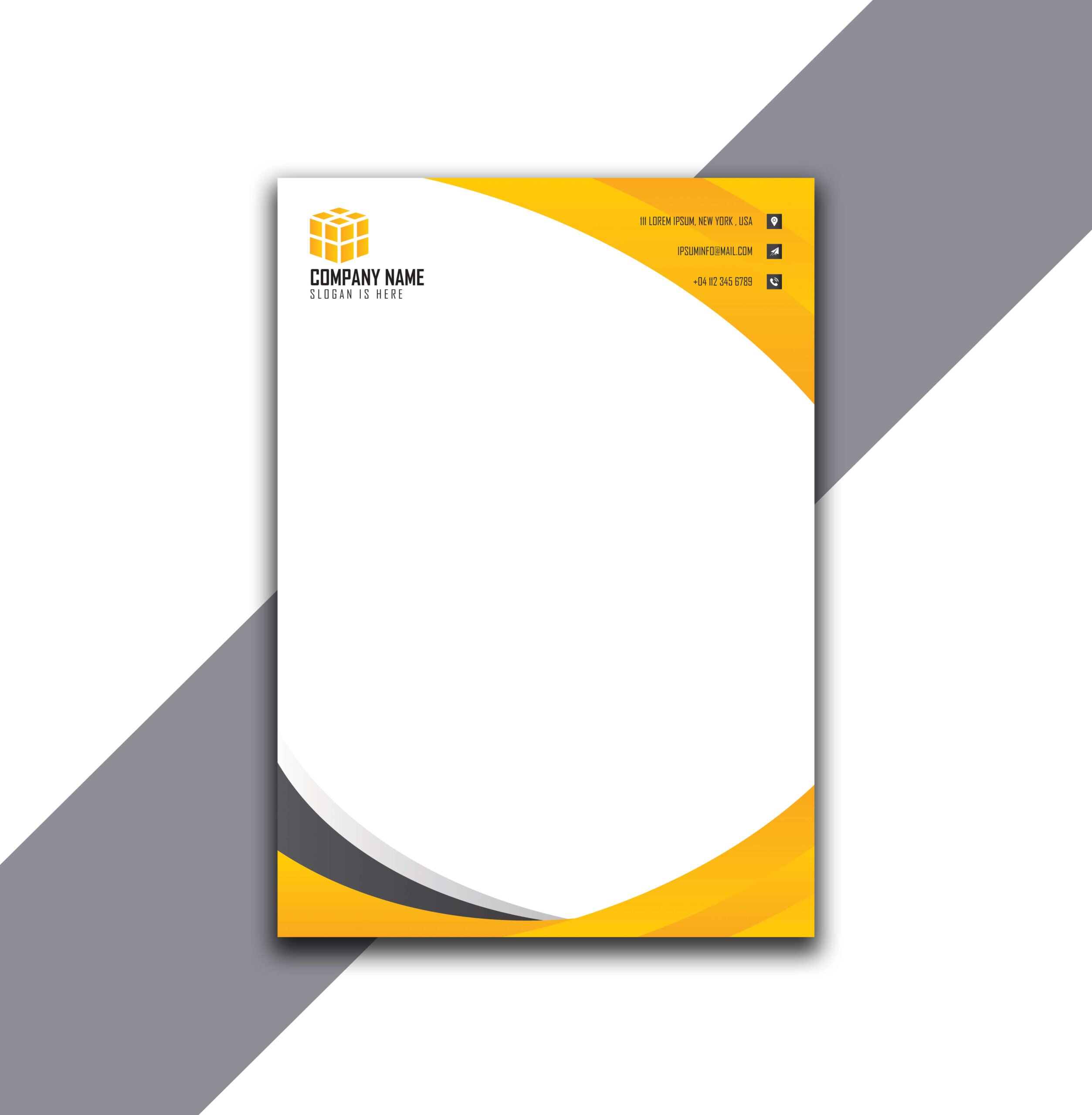 Beautiful and Cool Curvy Style Blue Letterhead