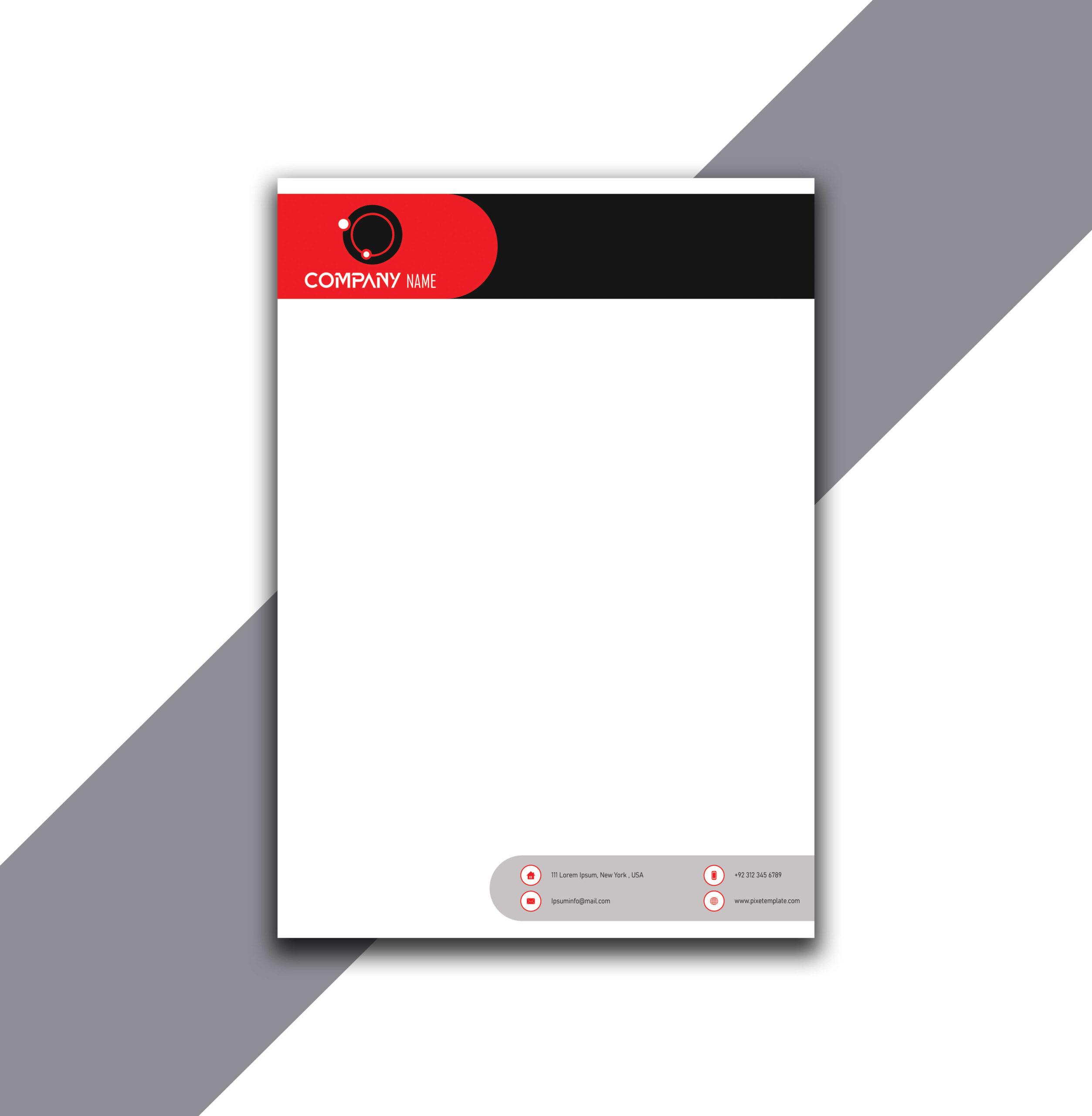 Red and Black Simple Letterhead Design in Illustrator
