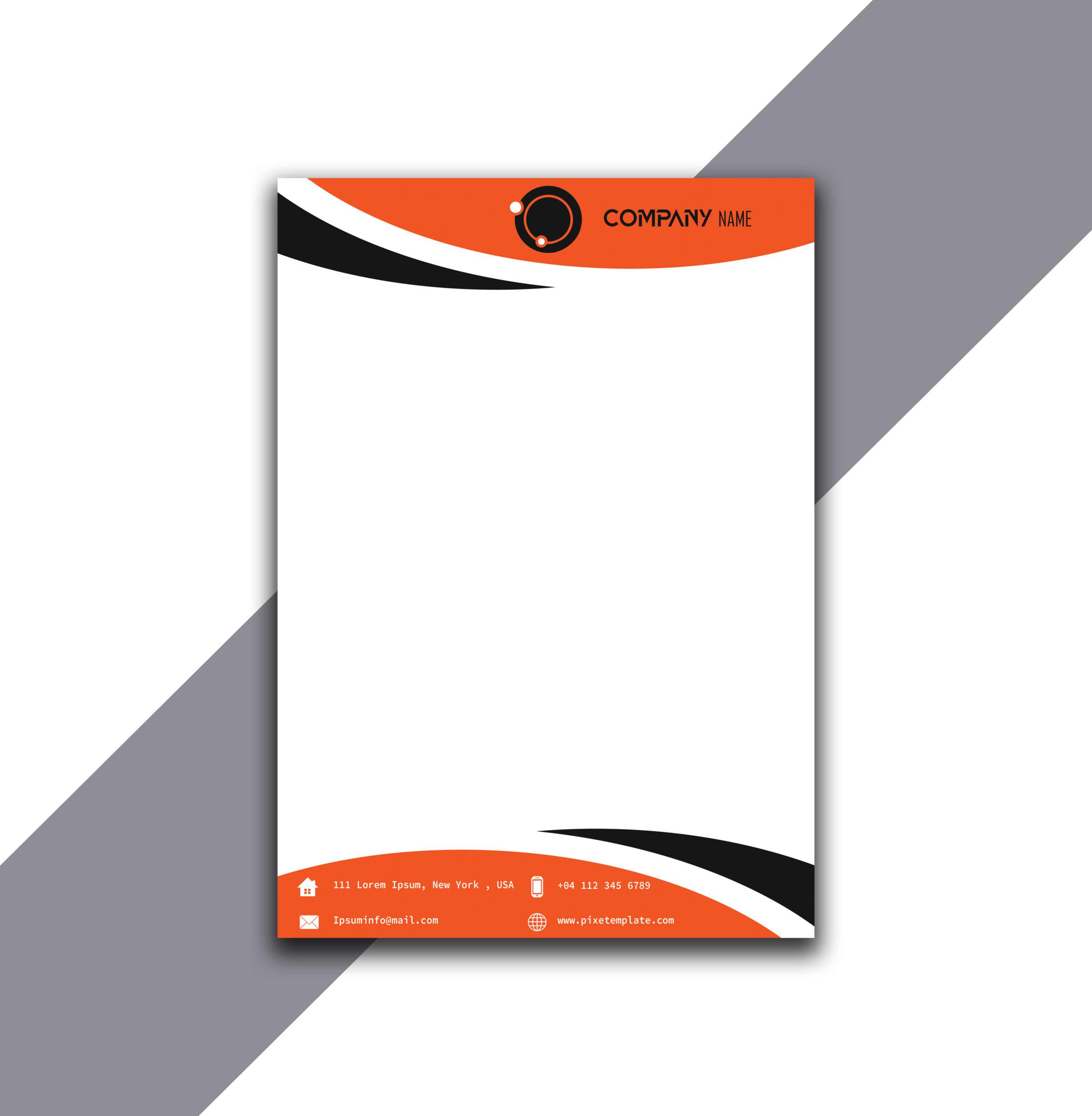 Orange and Black Curvy Letterhead Design in Illustrator