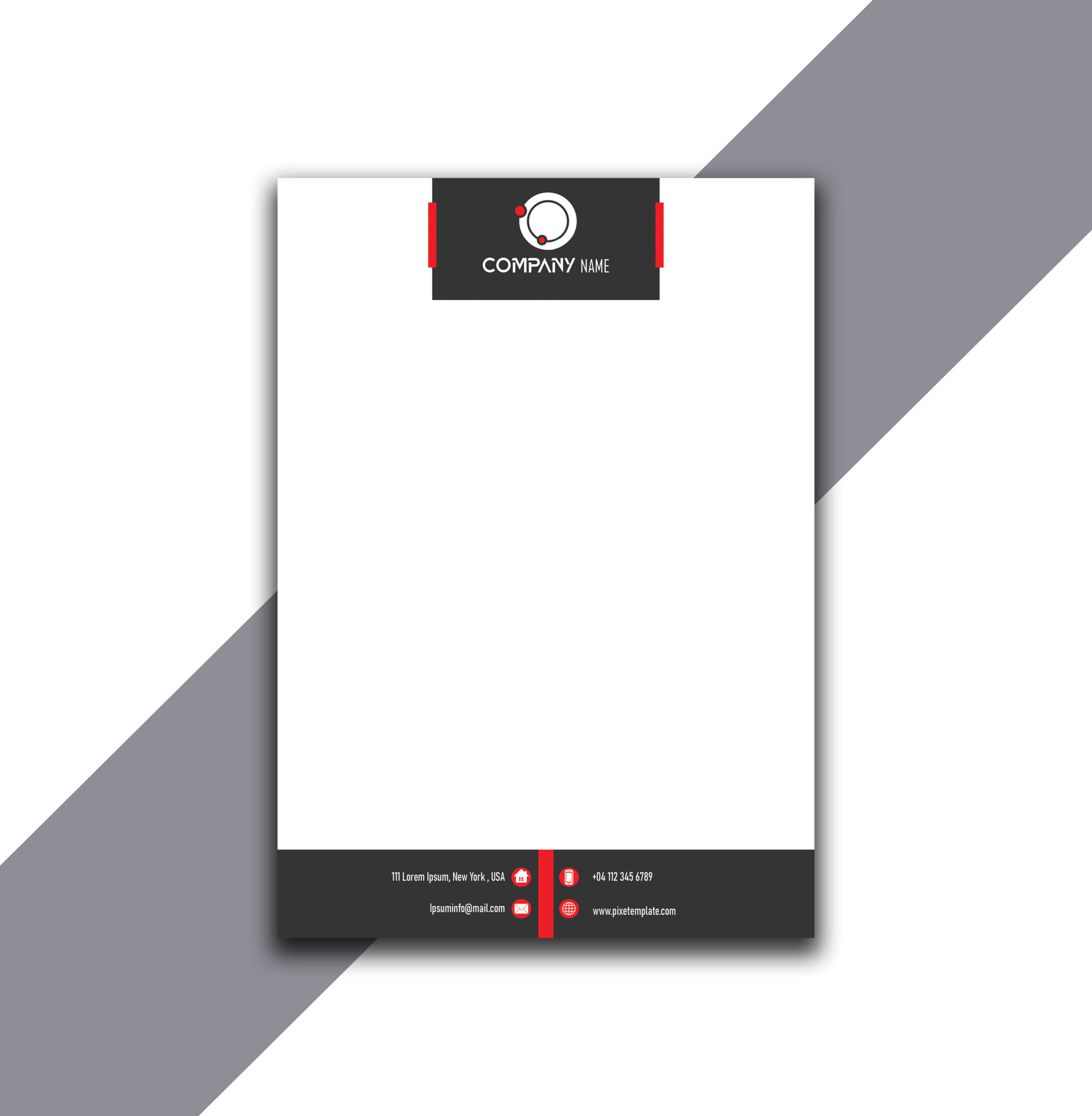 Simple and Attractive Red and Dark Gray Letterhead