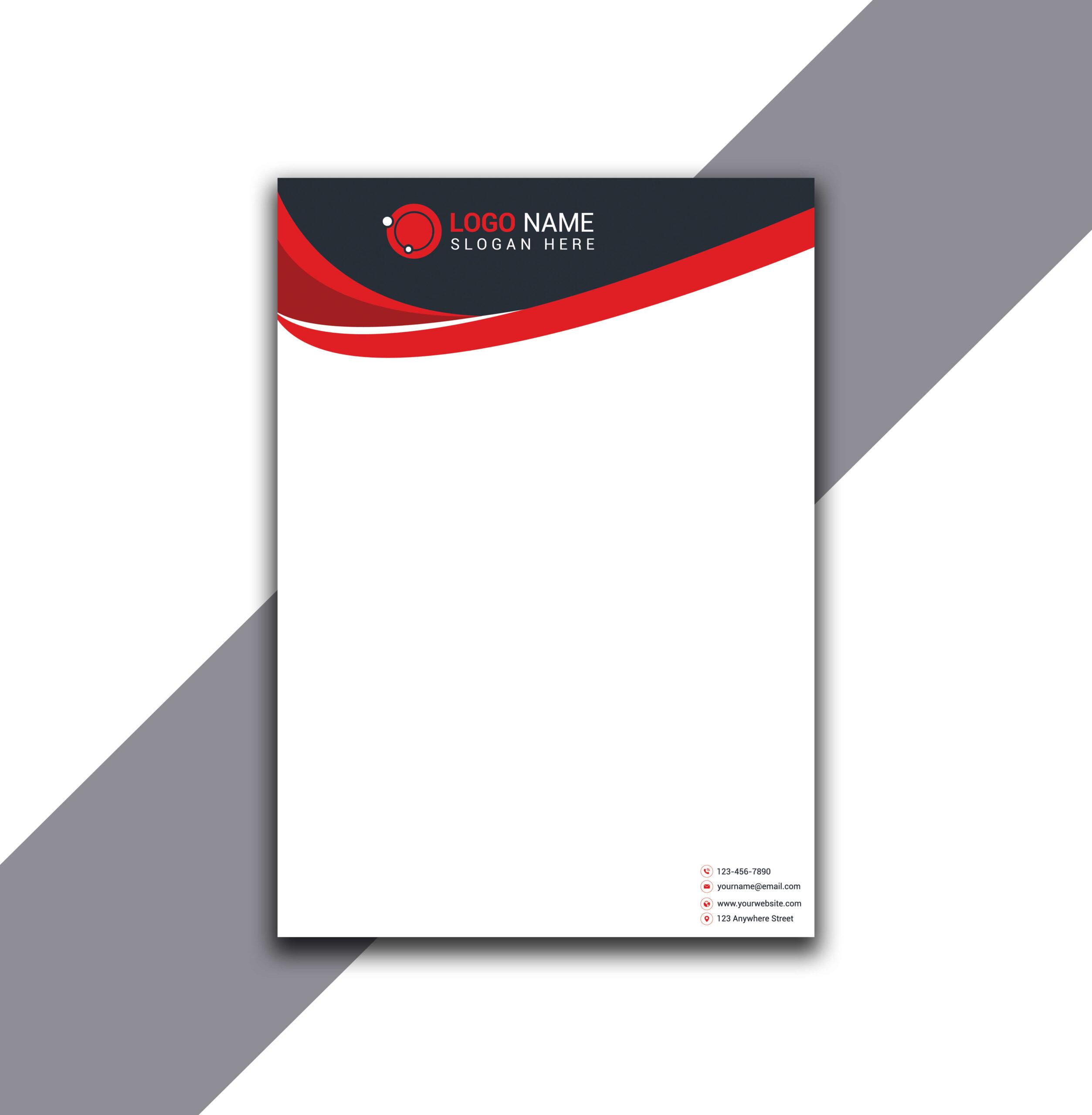 Red and Dark Gray Curvy Letterhead Design in Illustrator