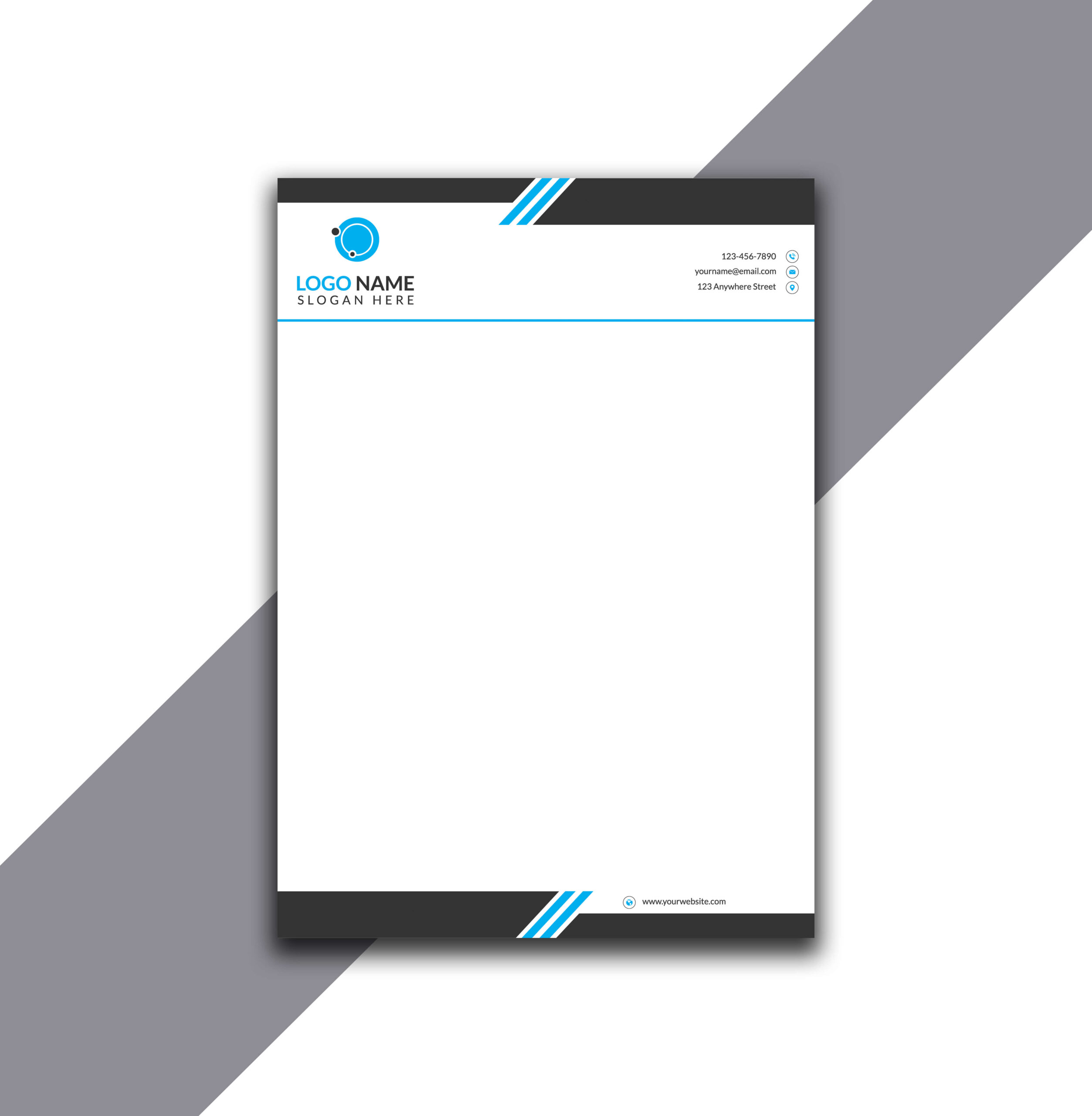 Simple Double Line Cyan Letterhead with Source AI File