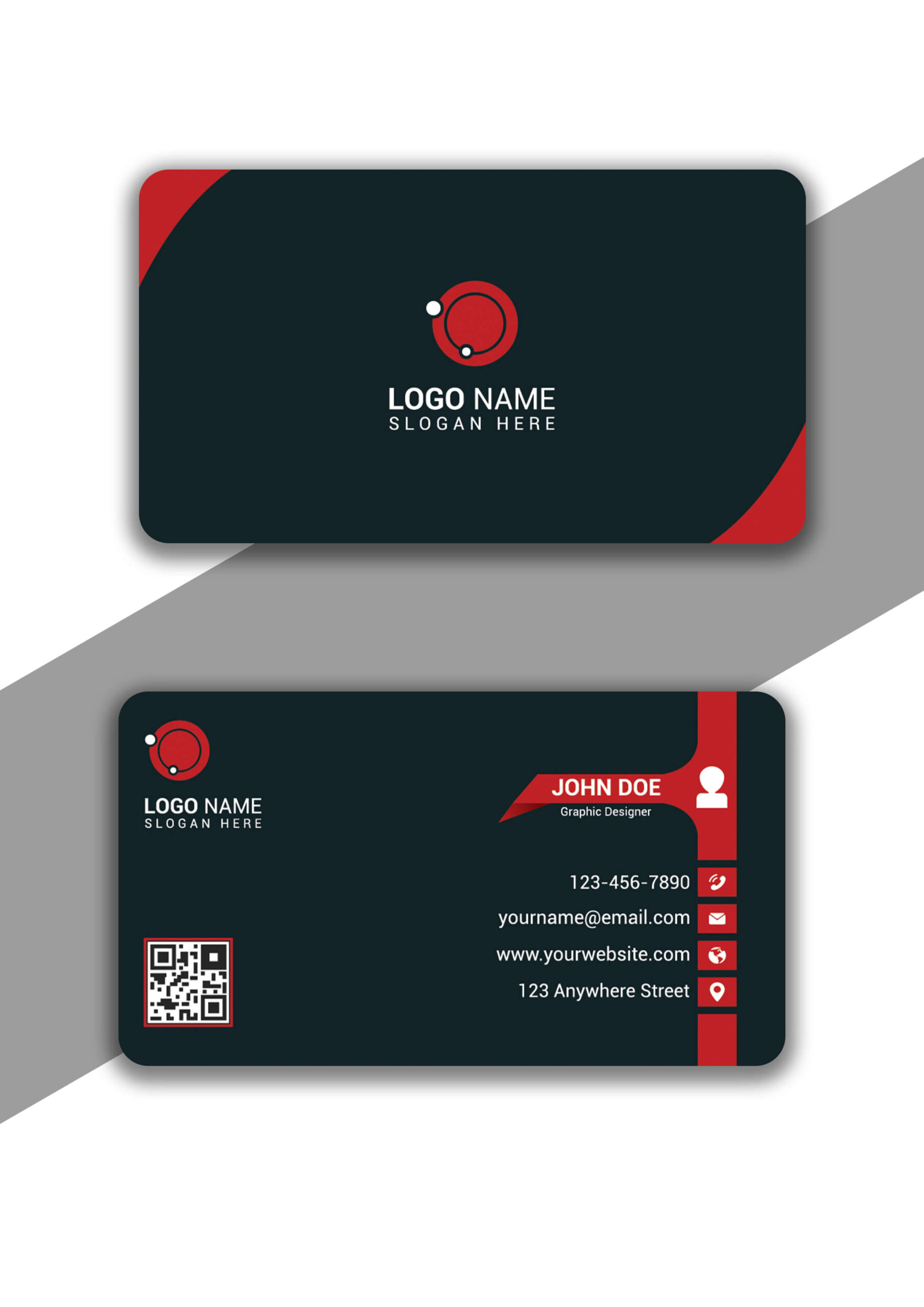 Trendy Style Red Color Business Card in Adobe Illustrator