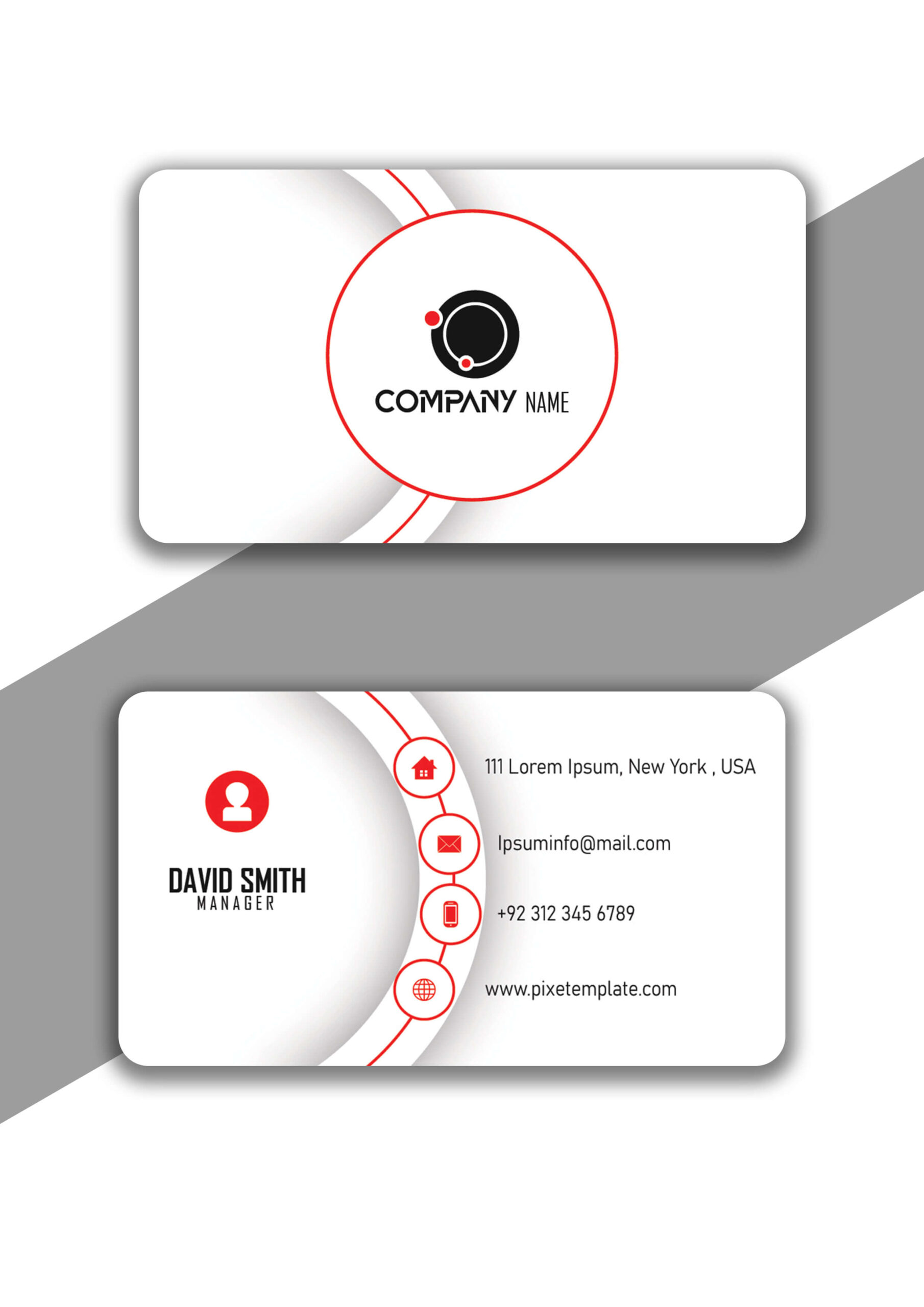 Red and Black Simple Business Card Design in Illustrator