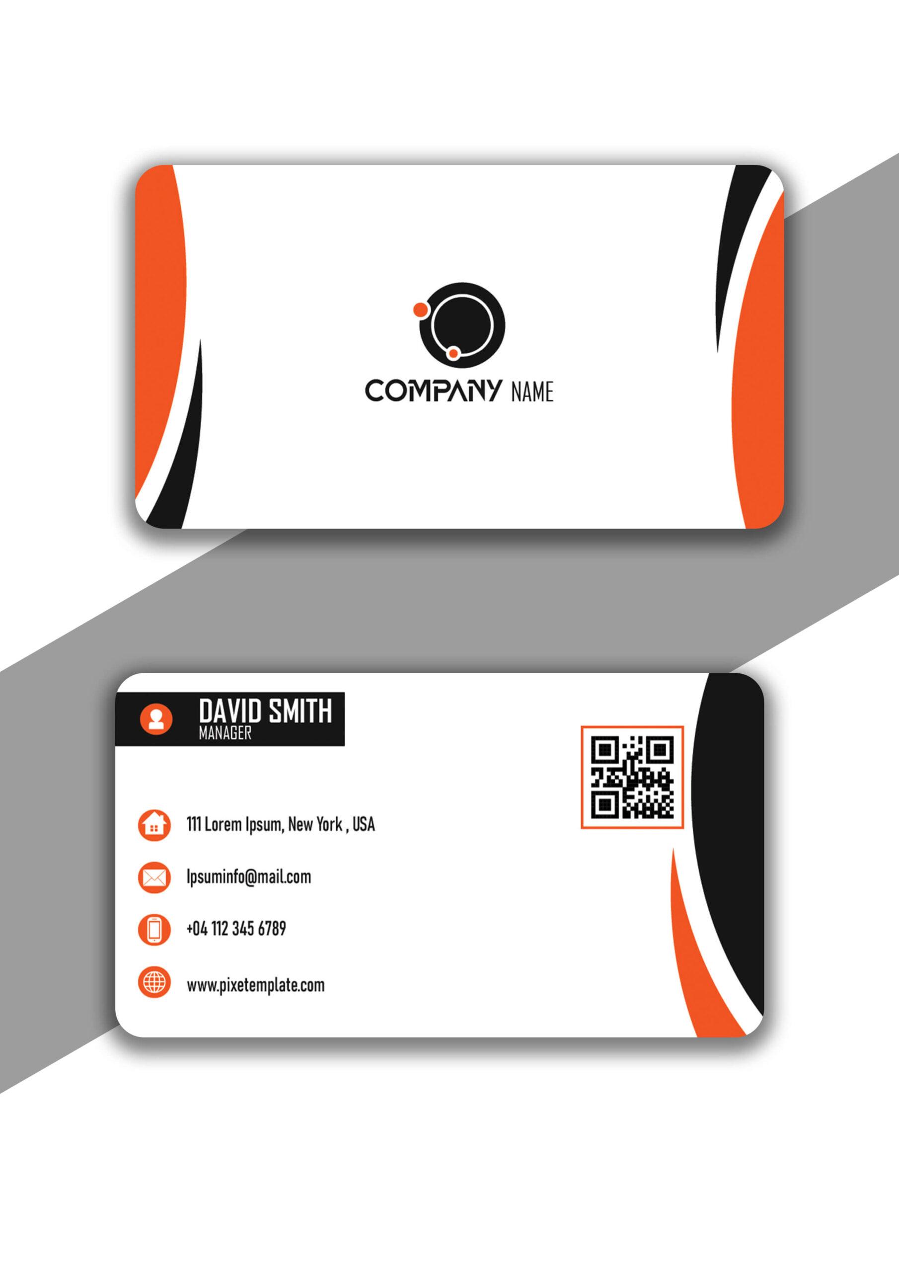 Orange and Black Curvy Business Card Design in Illustrator
