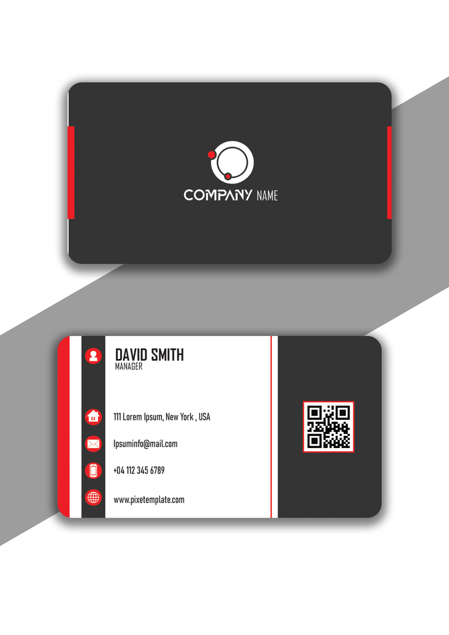 Simple and Attractive Red and Dark Gray Business Card