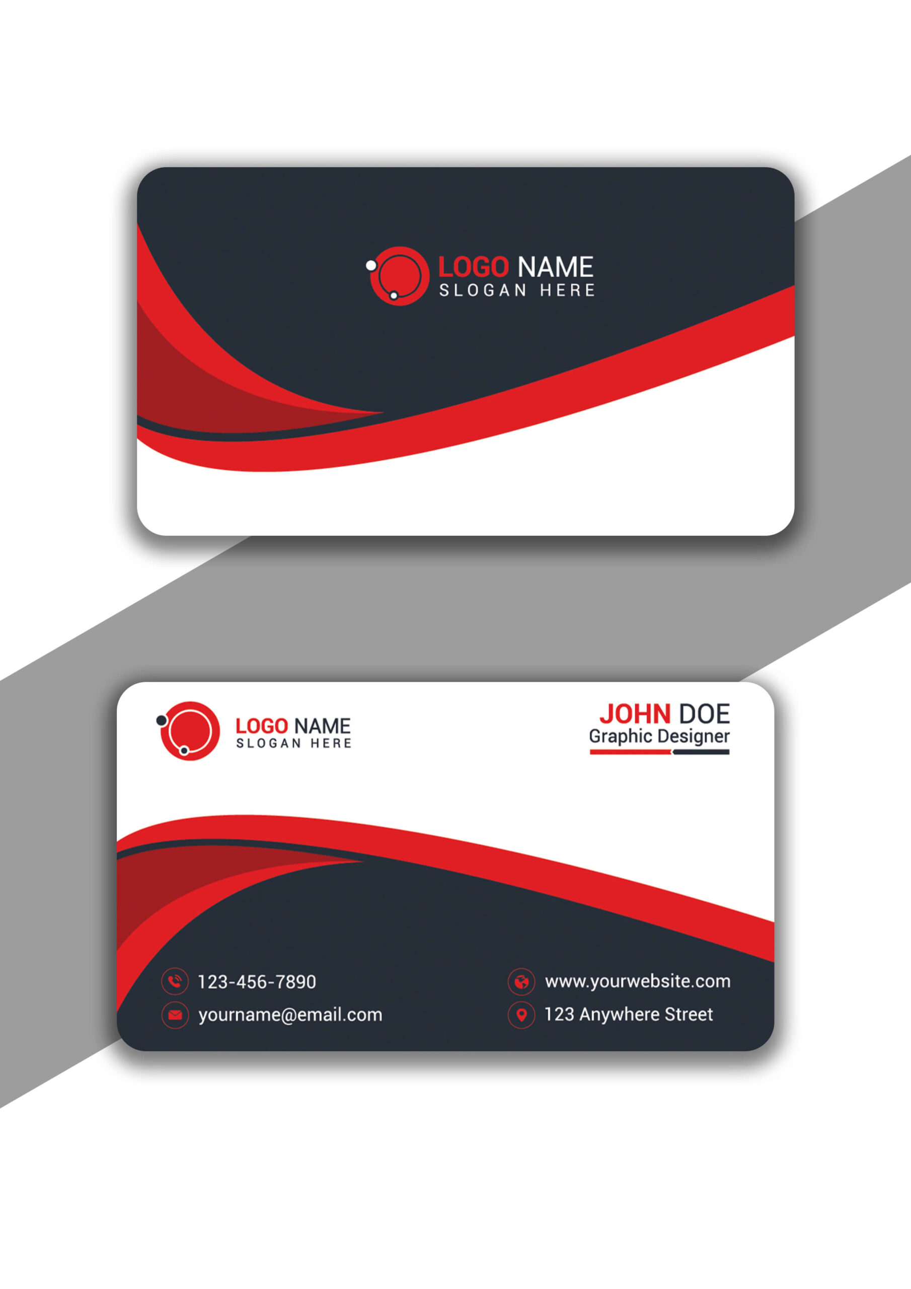 Red and Dark Gray Curvy Business Card Design in Illustrator