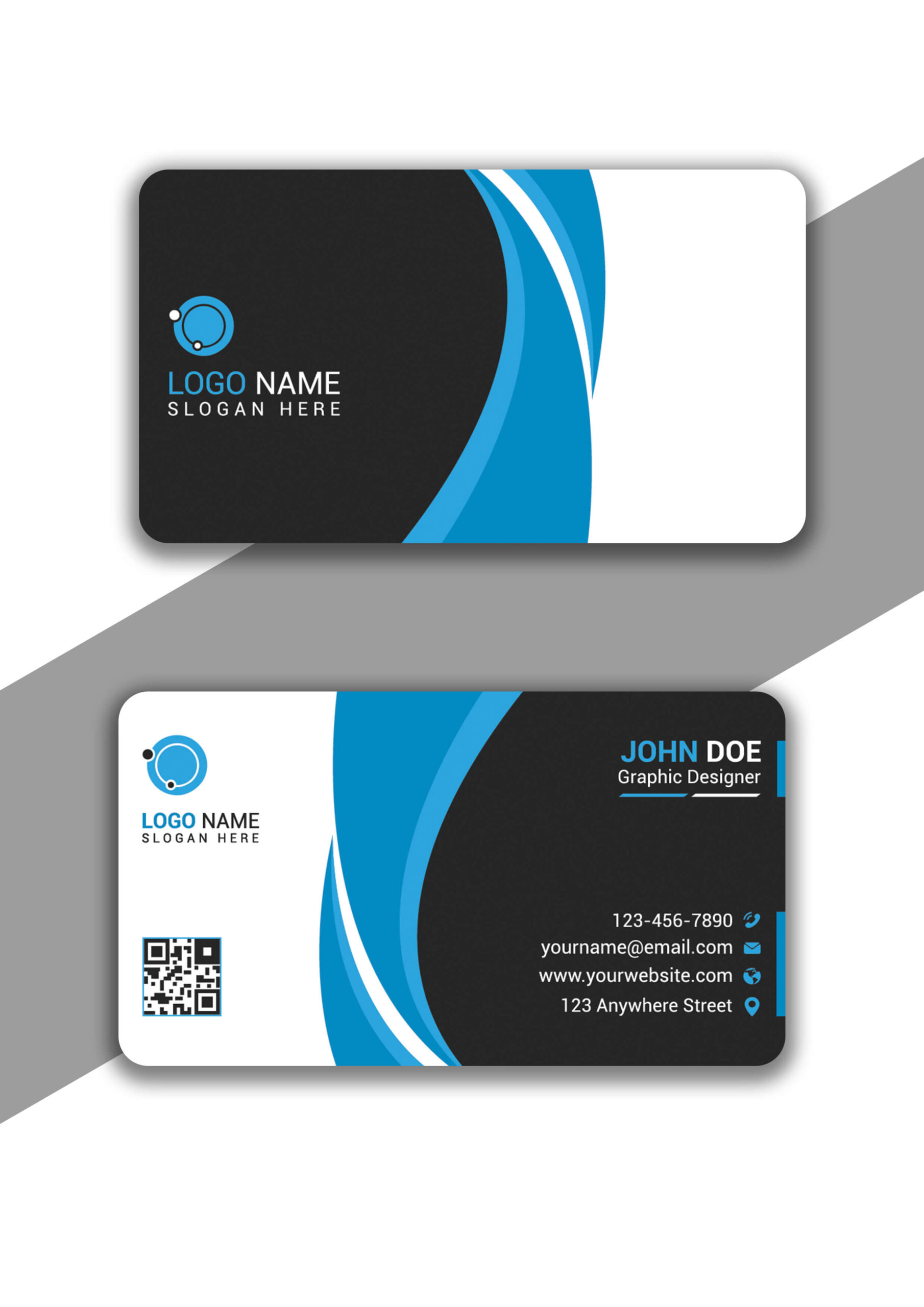 Eye Catching Cyan and Black Business Card in Illustrator