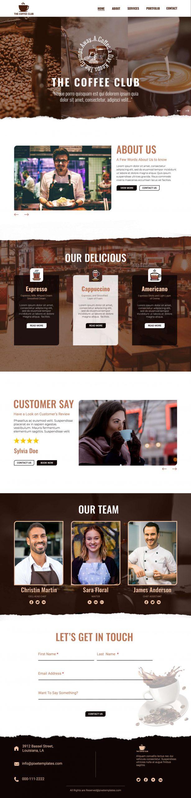 Restaurant Menu Website in Source PSD Free Download