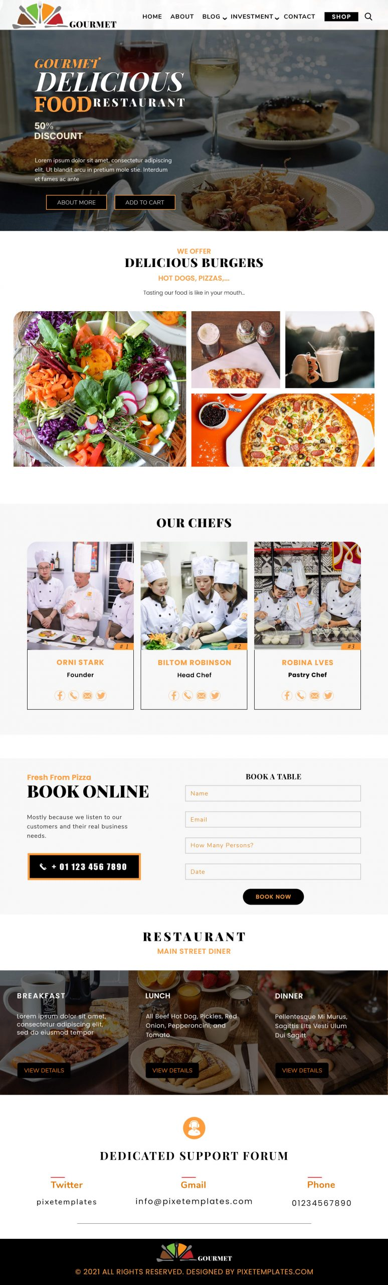 Restaurant Website Absolutely Free with Source PSD