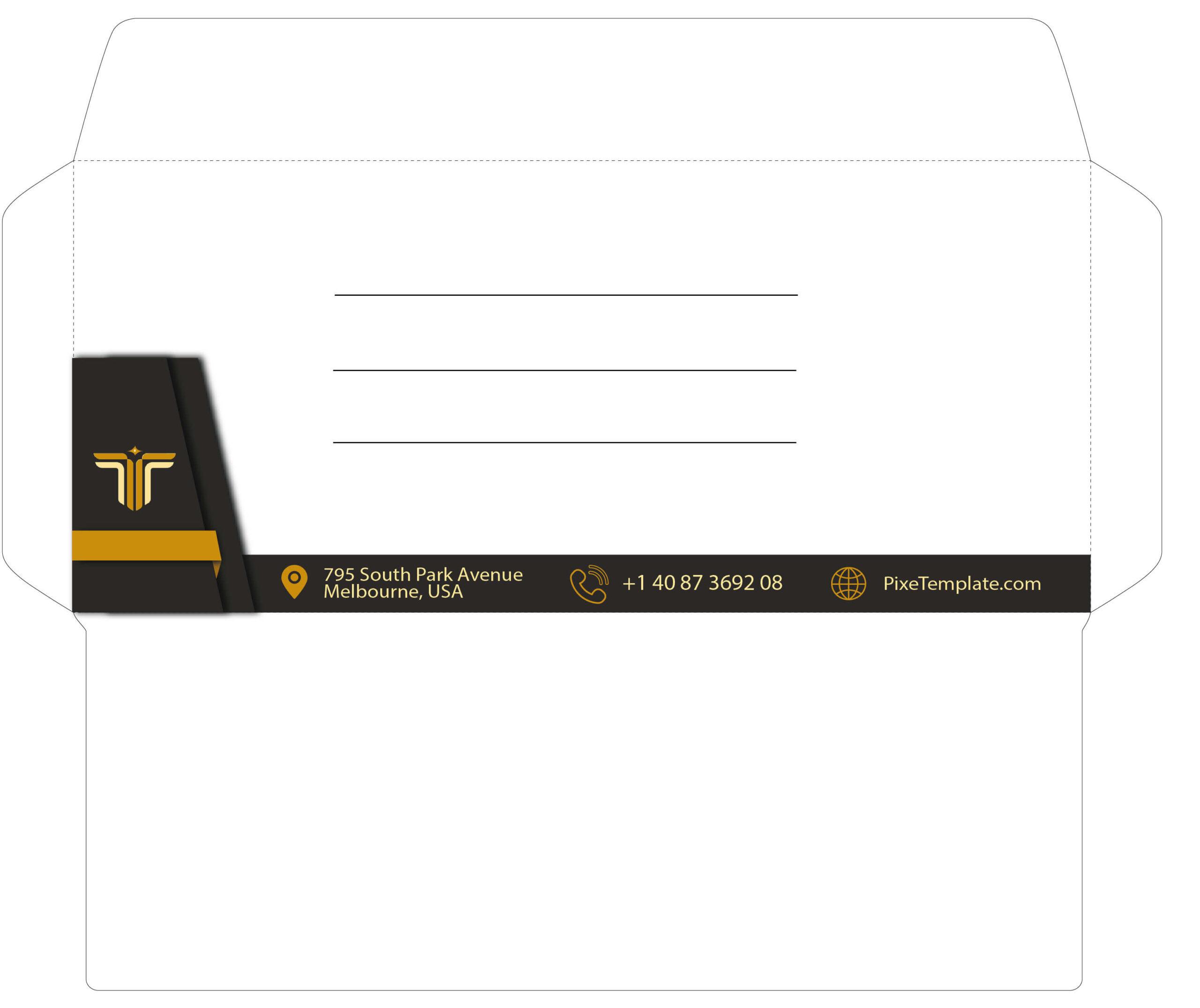 Dark Gray and Golden Envelope Design in Illustrator