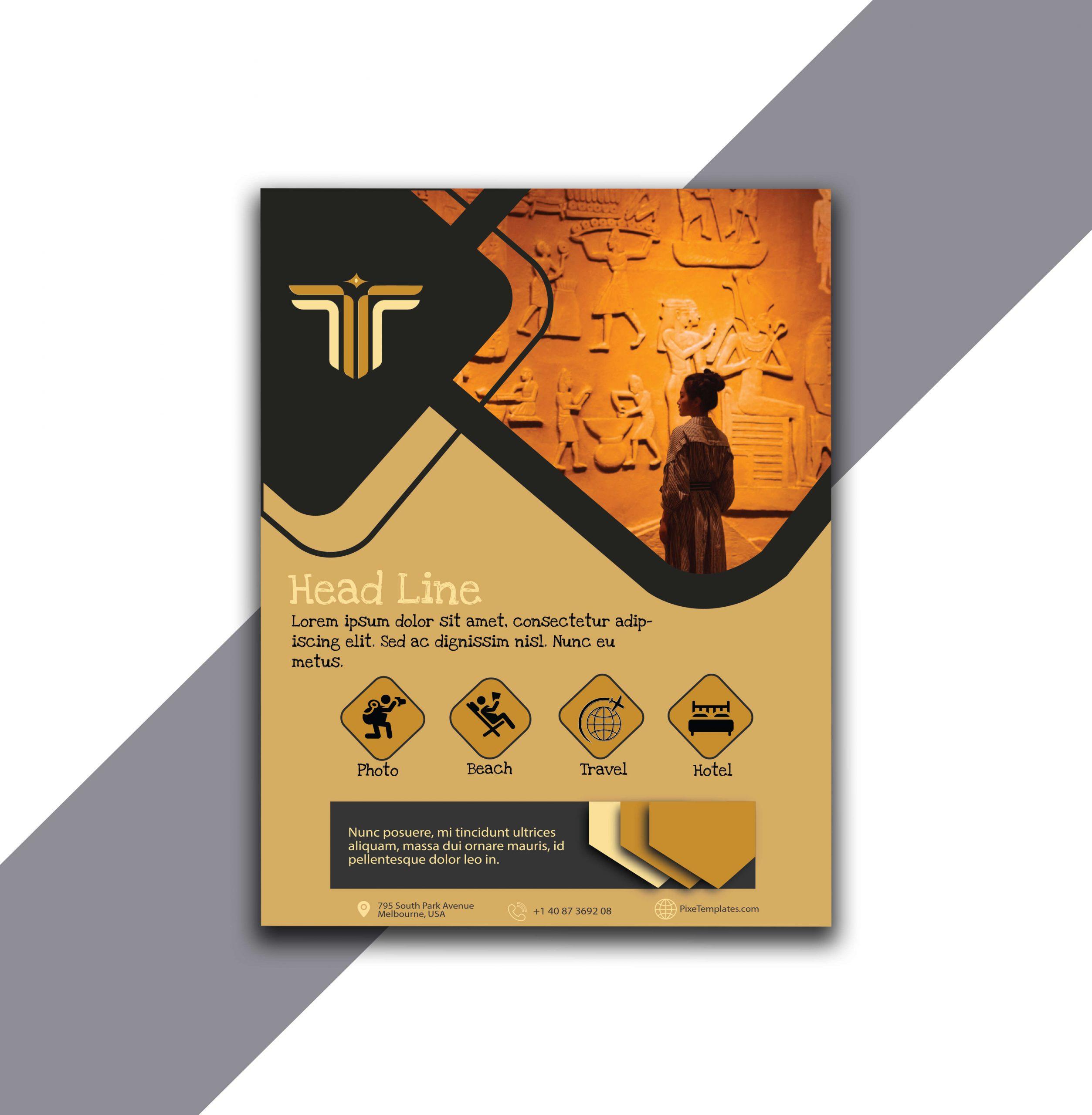 Dark Gray and Golden Flyer Design in Illustrator