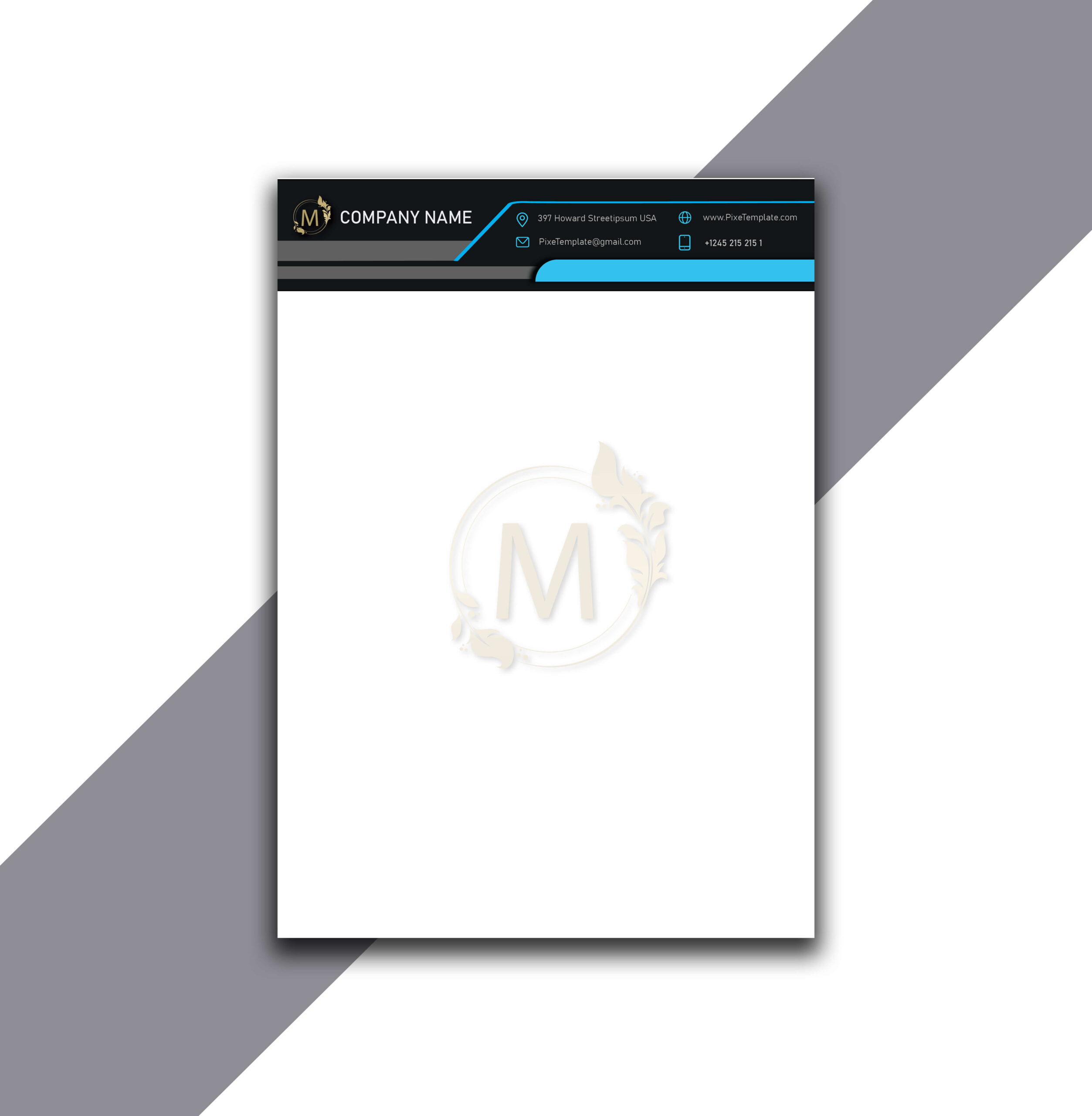 Letterhead Design in Cyan Color with Source AI Files