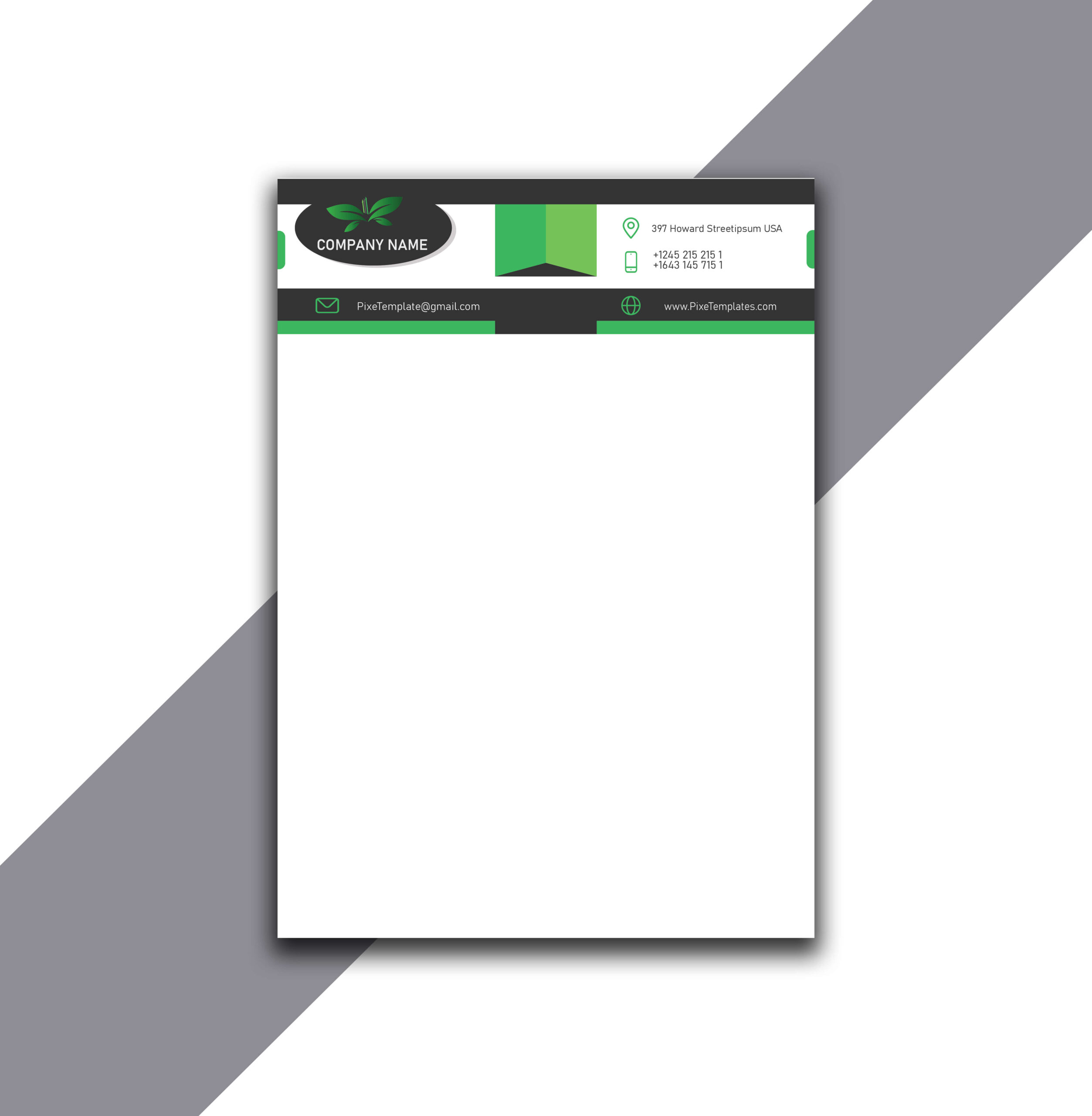 Company Letterhead Design in Green Color Absolutely Free