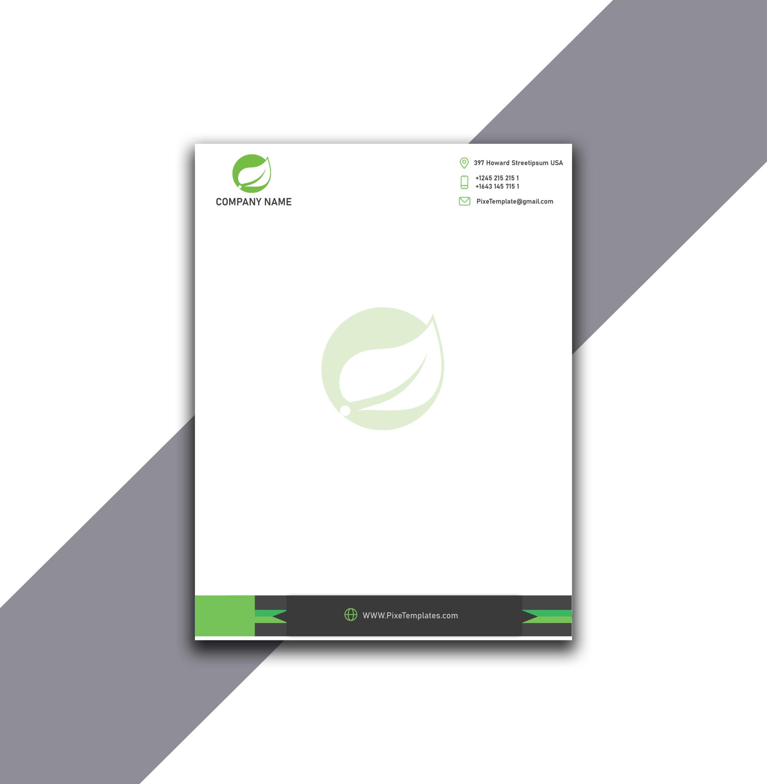 Letterhead Creation in Green Color with Source AI Files