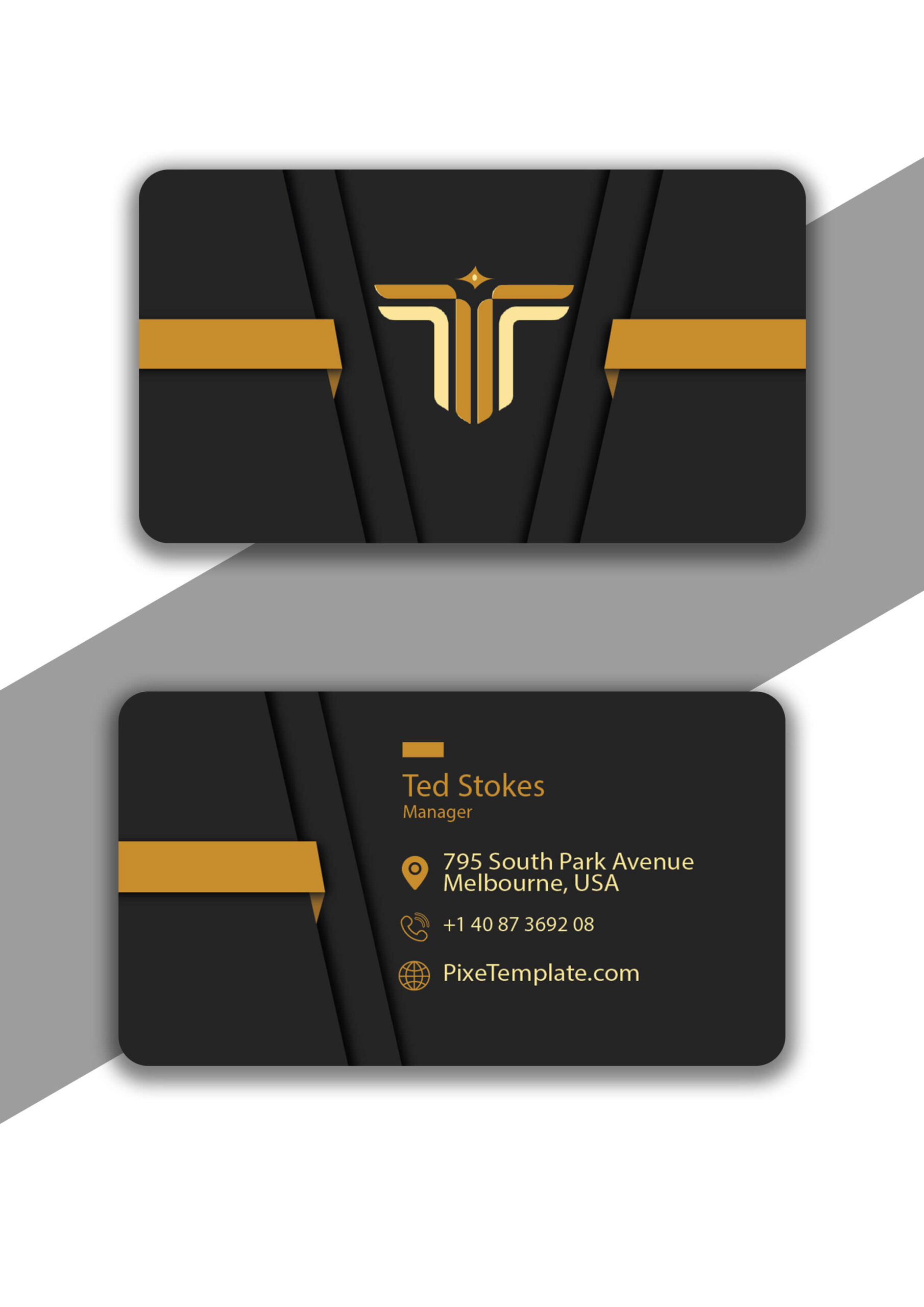 Dark Gray and Golden Business Card Design in Illustrator