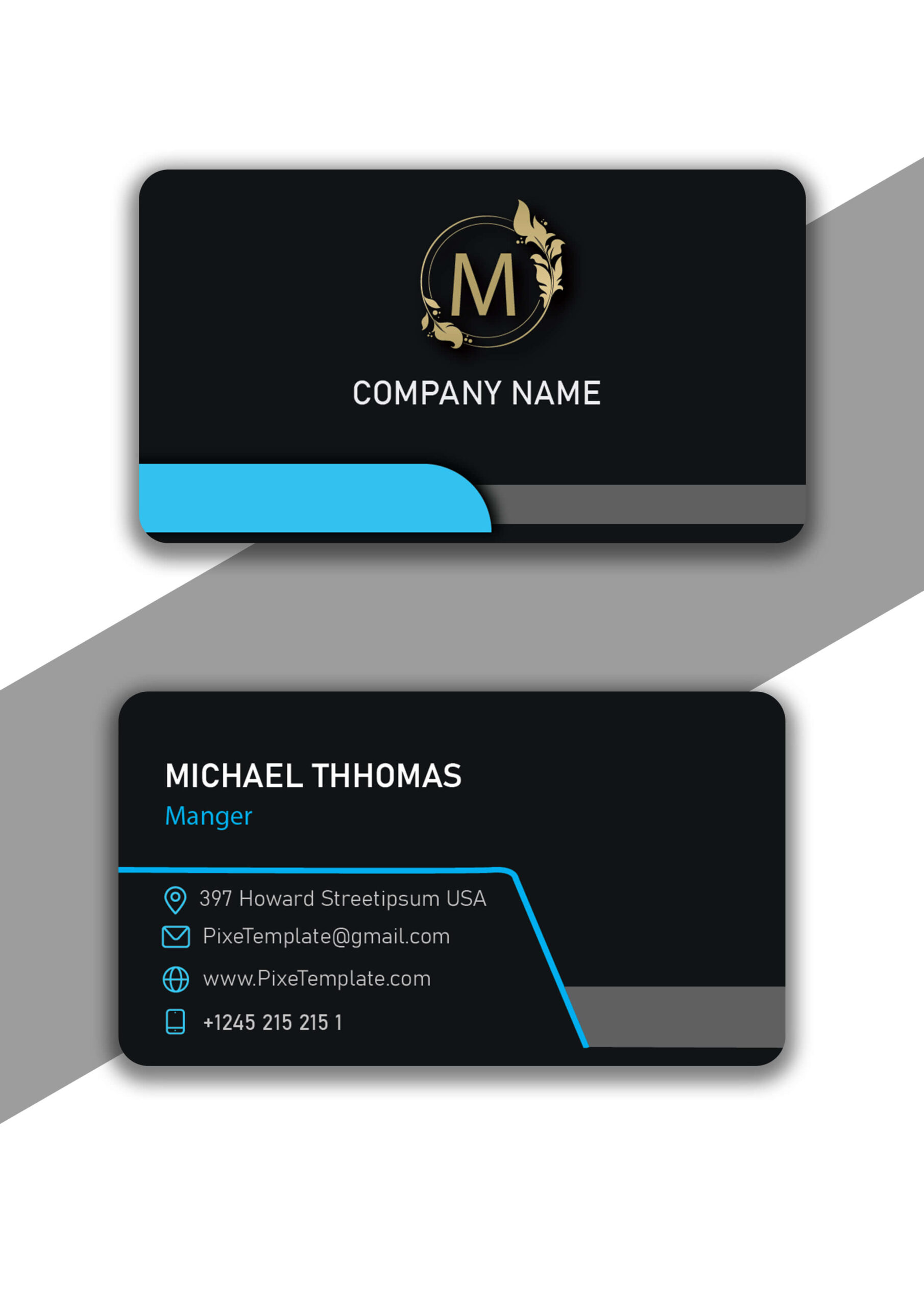 Business Card Design in Cyan Color with Source AI Files