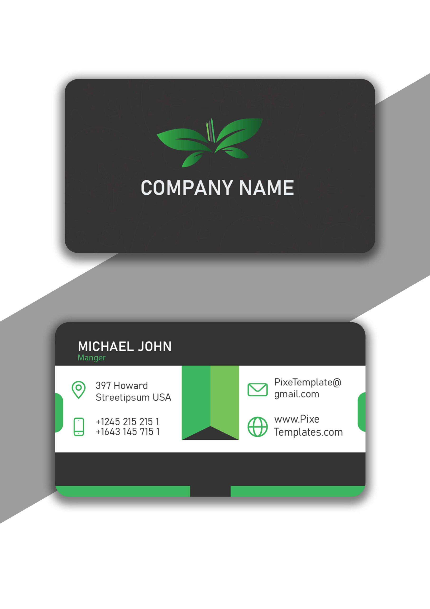 Company Business Card Design in Green Color Absolutely Free
