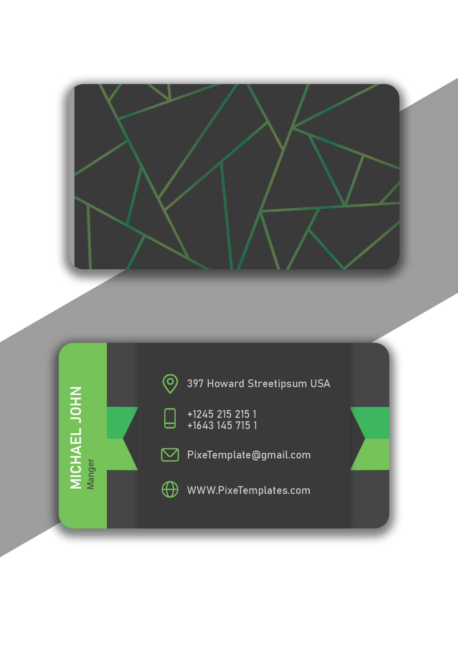 Business Card Creation in Green Color with Source AI Files