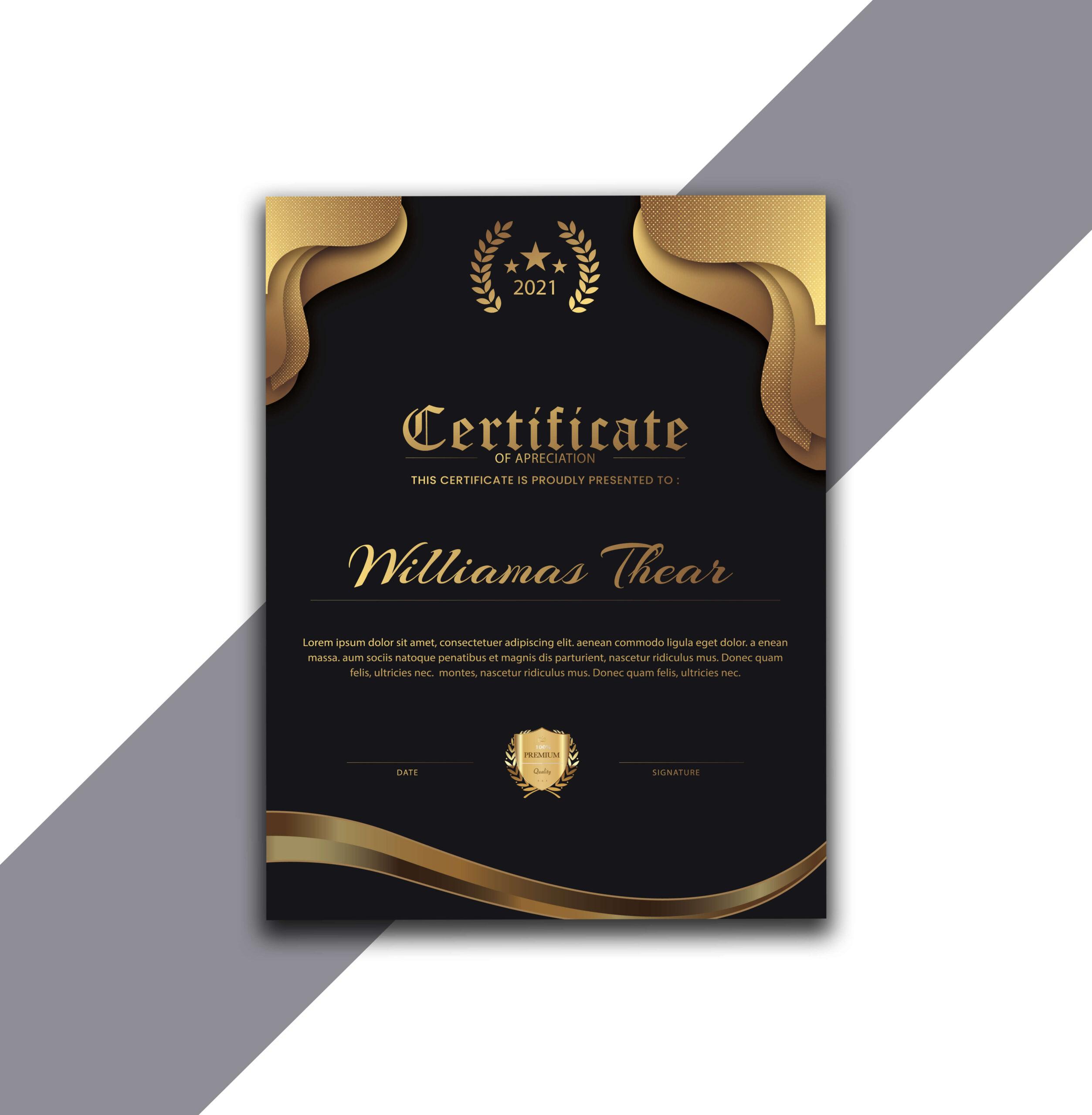 Black and Gold Vertical Certificate Design in Adobe Illustrator