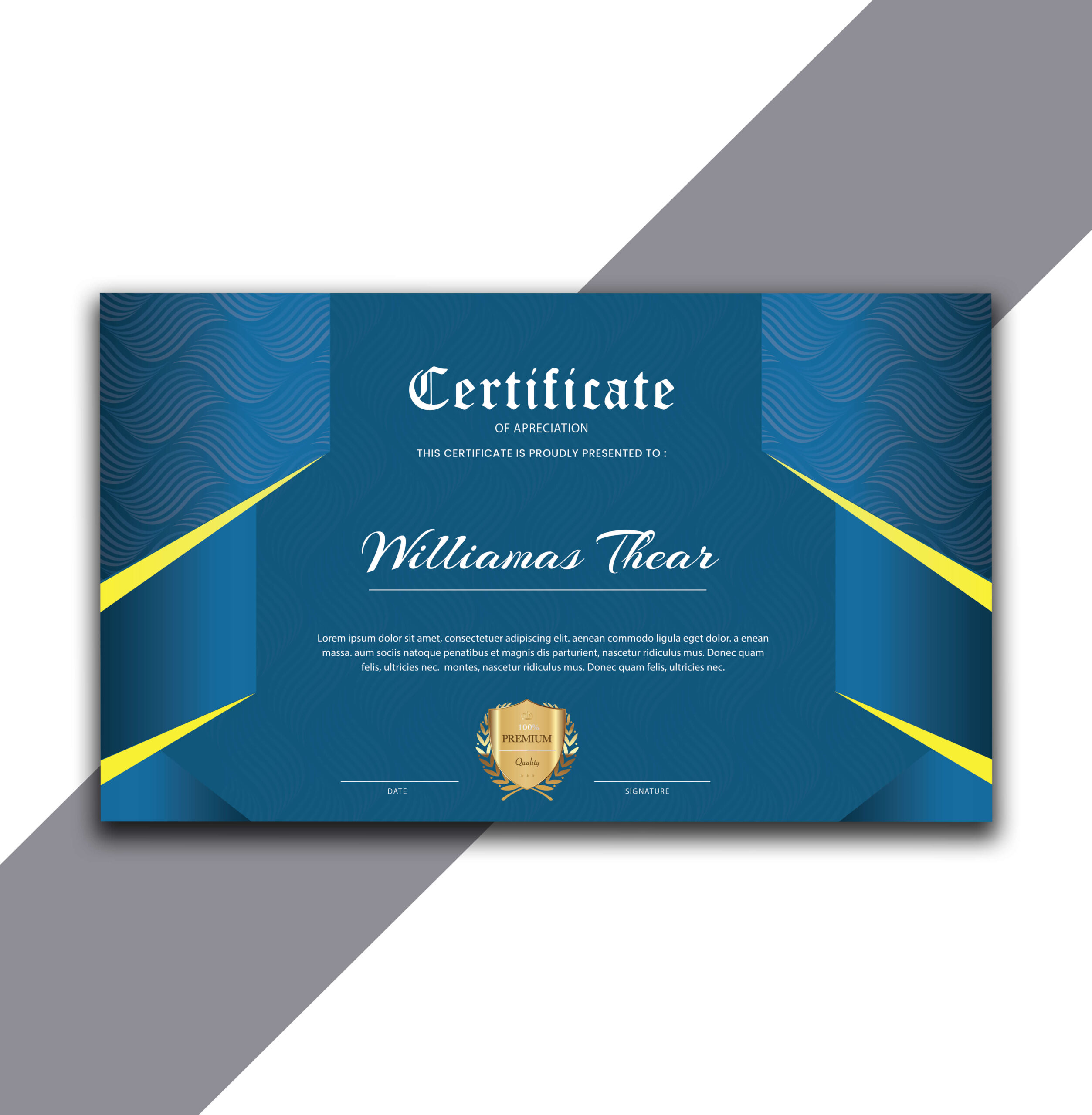 Blue Horizontal Certificate of Appreciation Absolutely Free